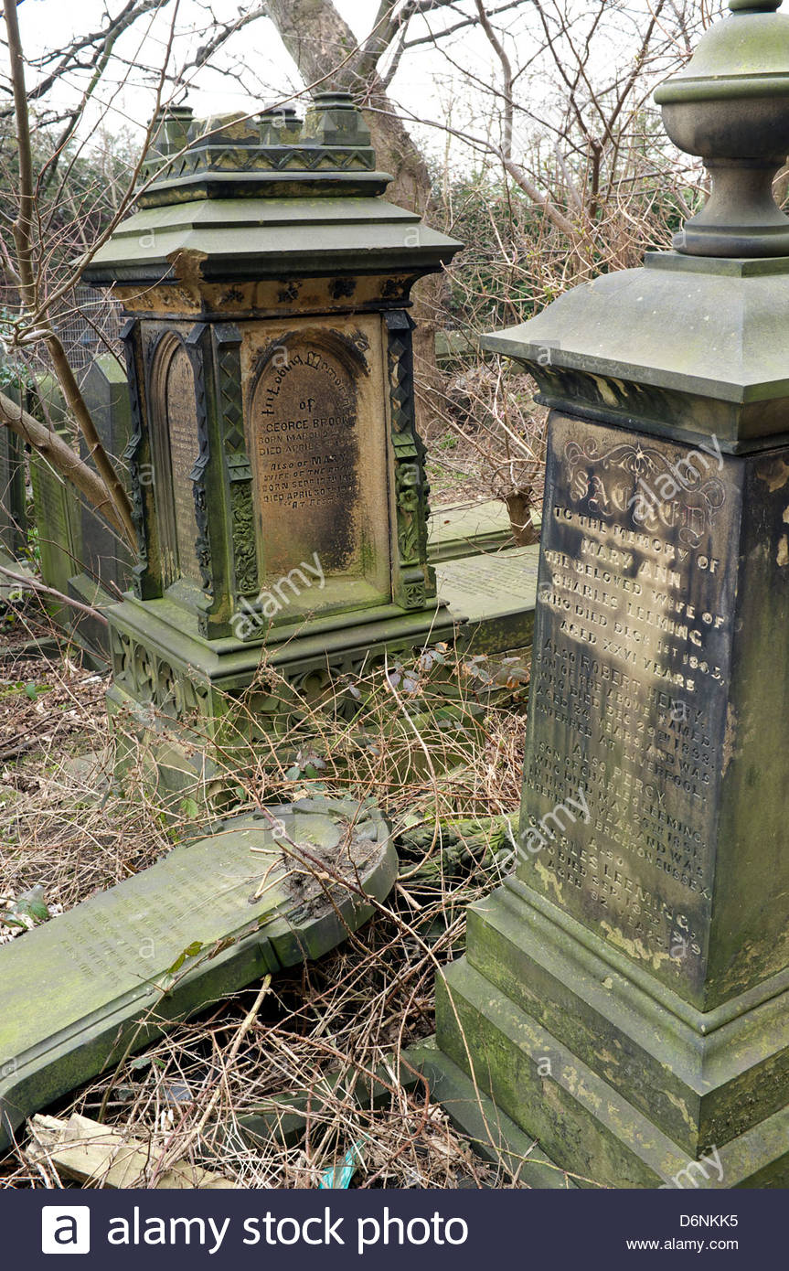 A derelict overgrown church cemetery in Huddersfield, West Yorkshire, UK. - Stock Image