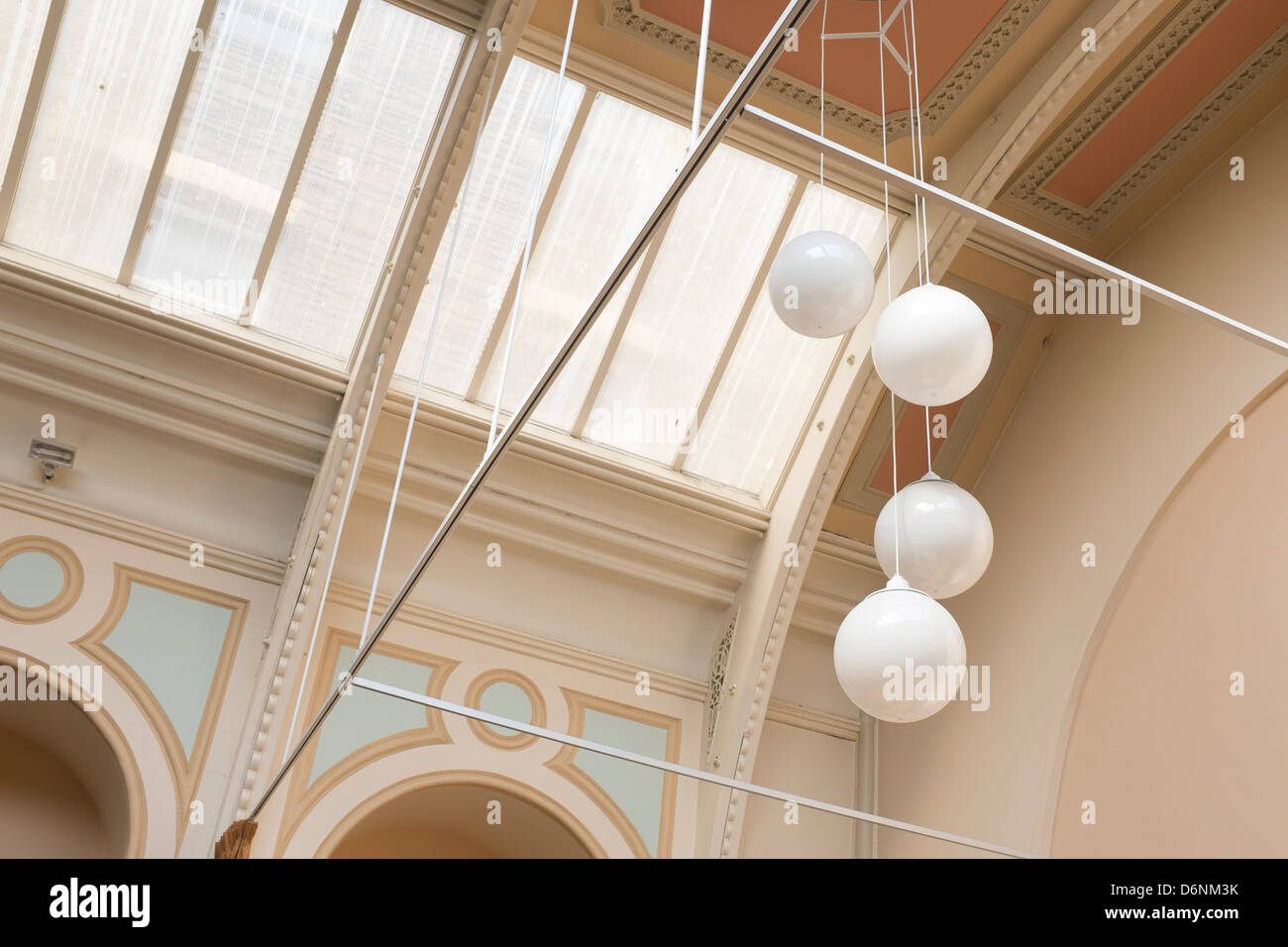 The old \'globe\' lights inside the vaulted ceiling of former local ...