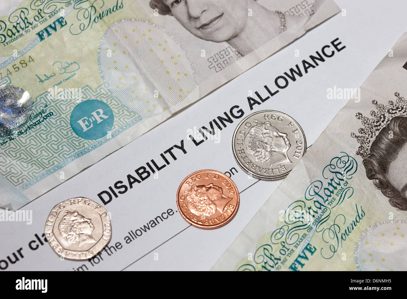 obsolete disability living allowance statement british state benefit - Stock Image