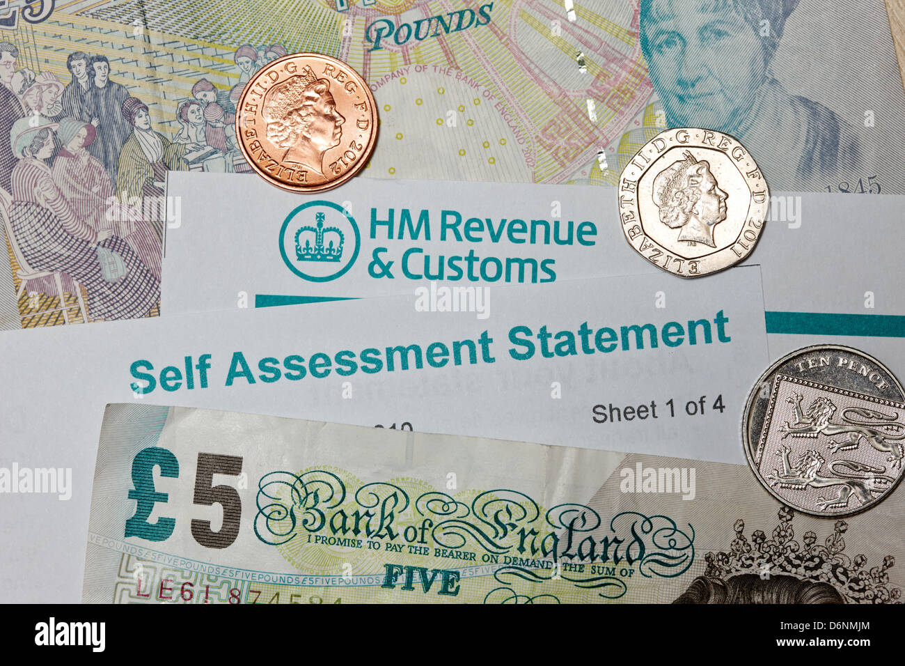 hmrc british revenue and customs self assessment statement for self employed people - Stock Image