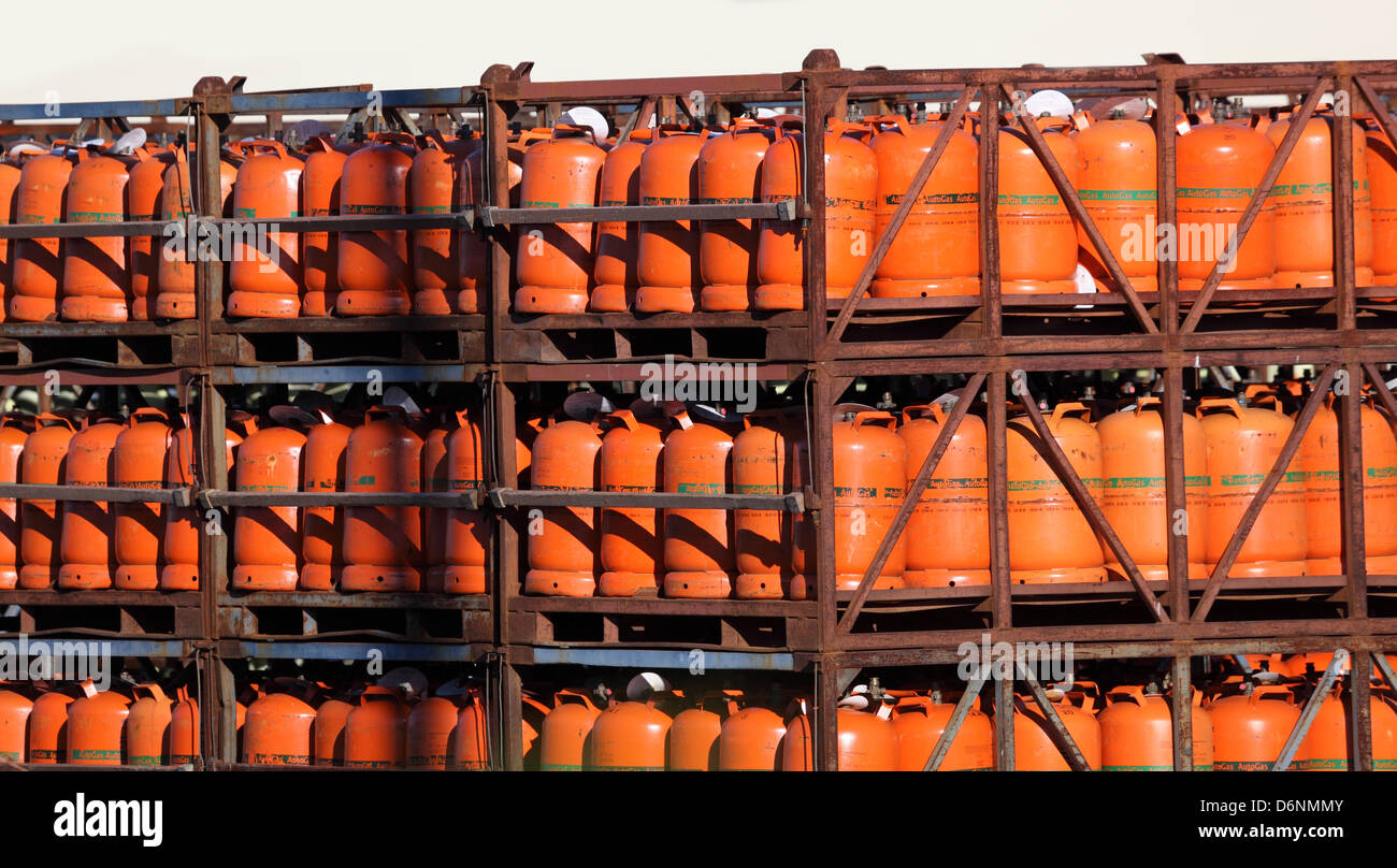 Propane gas bottles in a storage - Stock Image