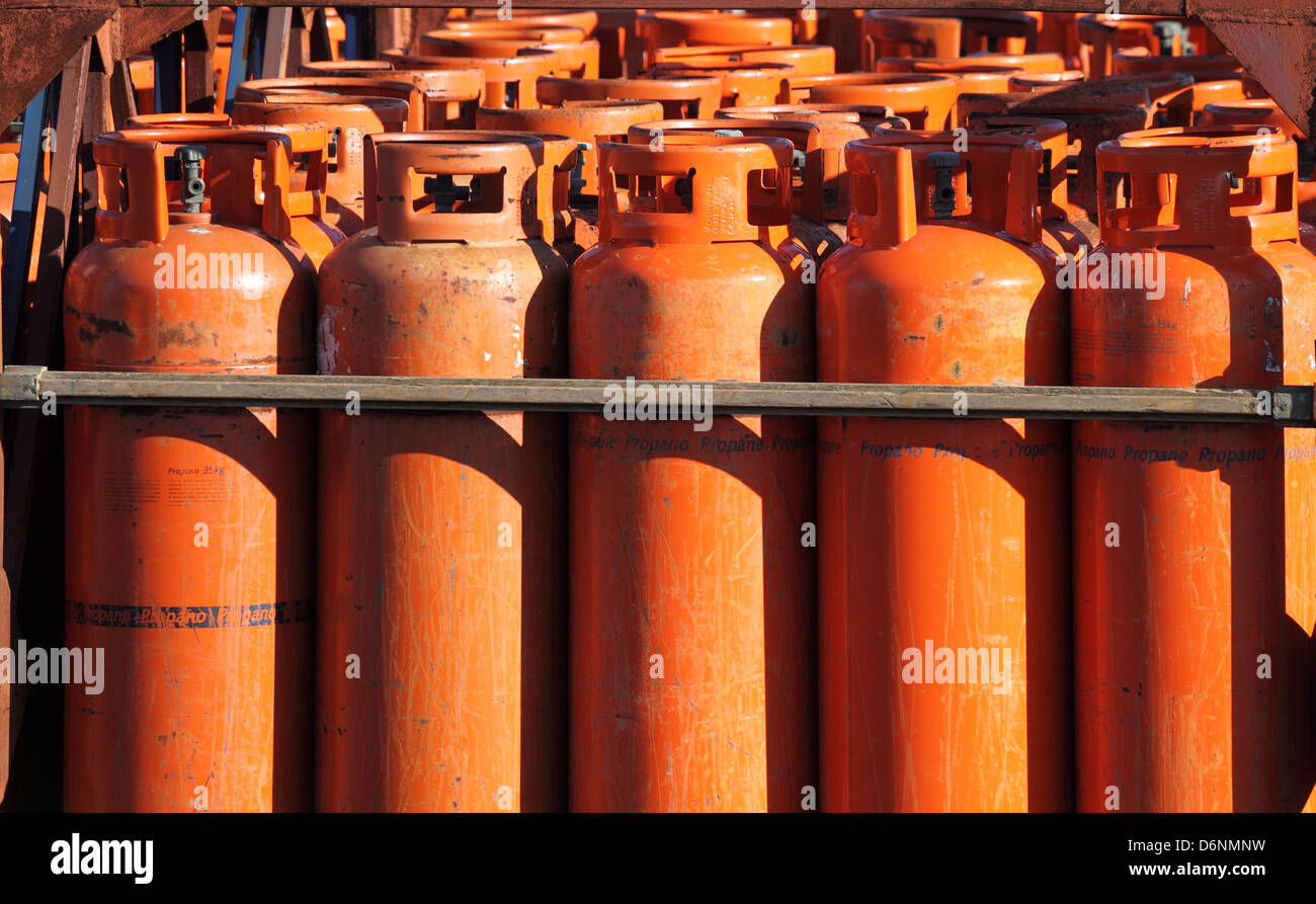 Big propane gas bottles at the refill station - Stock Image