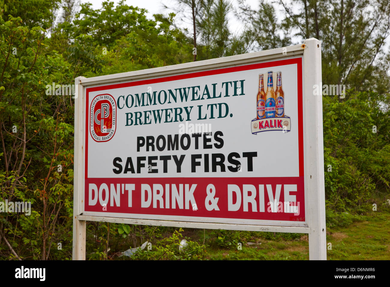 Commonwealth Brewery Limited Don't Drink and Drive sign, Nassau, Bahamas - Stock Image