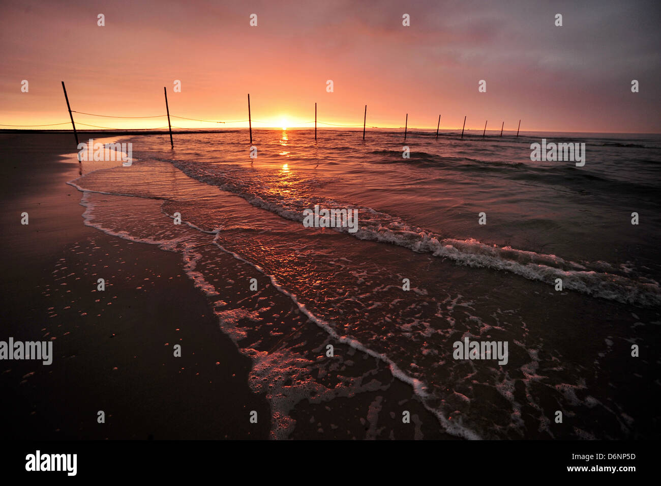 Wangerooge, Germany, Sunset over the North Sea Stock Photo