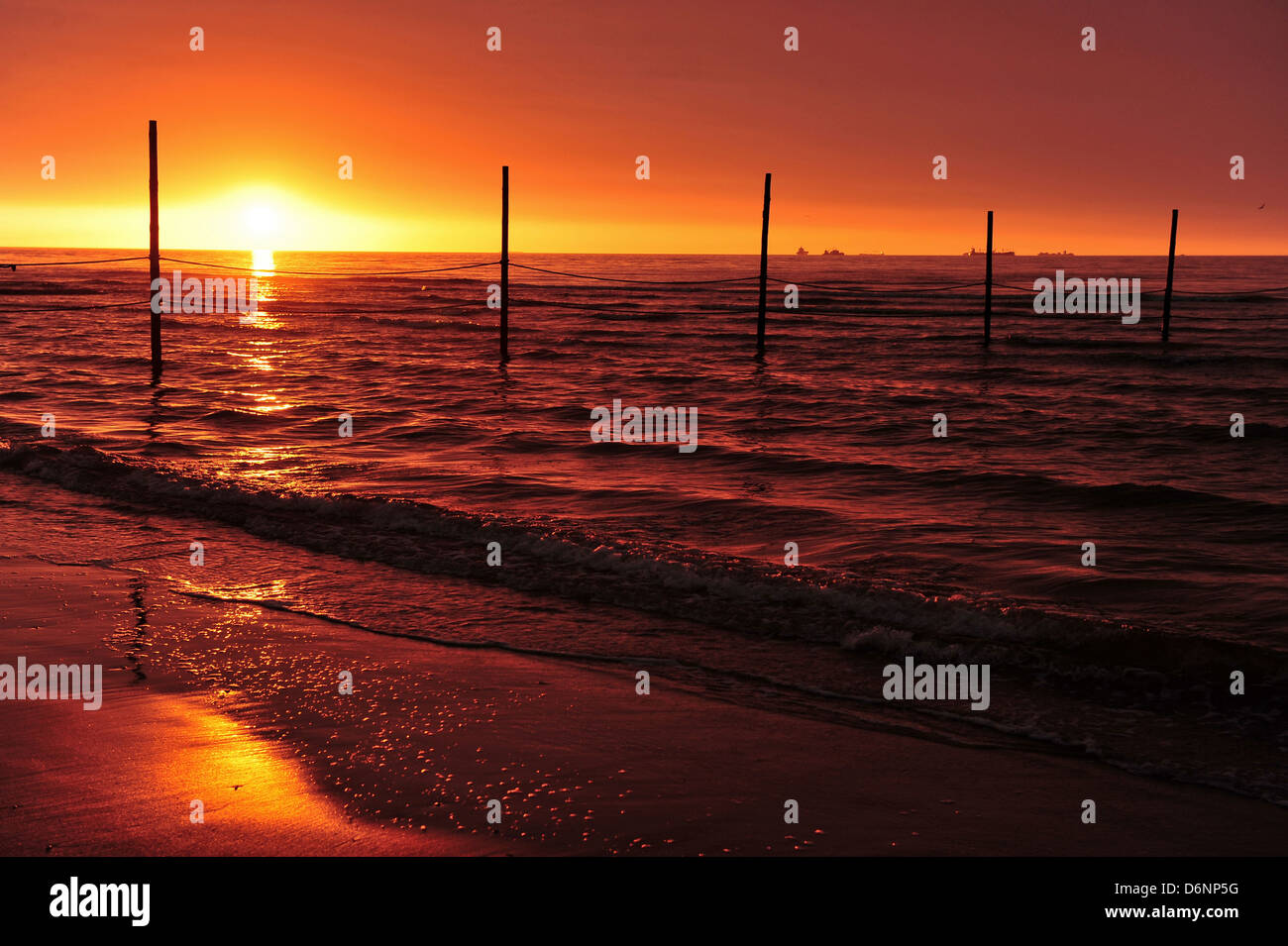 Wangerooge, Germany, View of the sunset from the beach Stock Photo