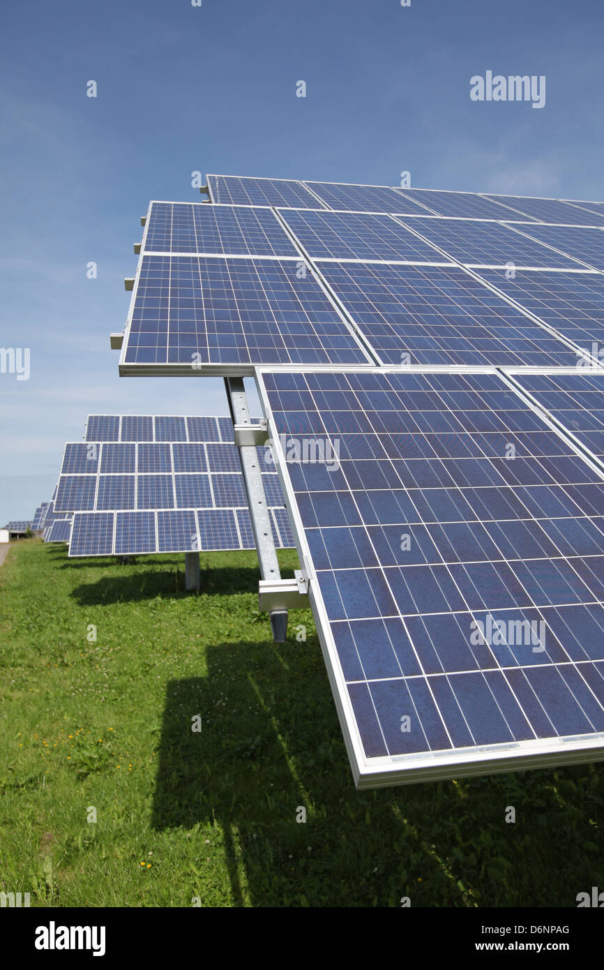 Nordhackstedt, Germany, solar farm consisting of tracking systems - Stock Image