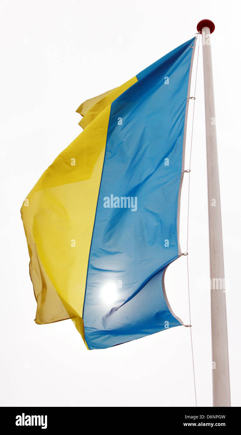 Schoenefeld, Germany, Flag of Urkraine - Stock Image