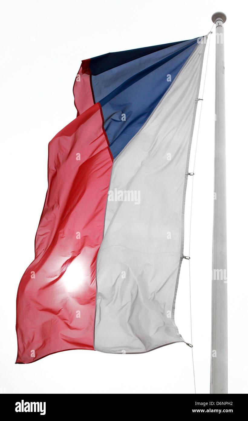 Schoenefeld, Germany, Czech Republic flag - Stock Image