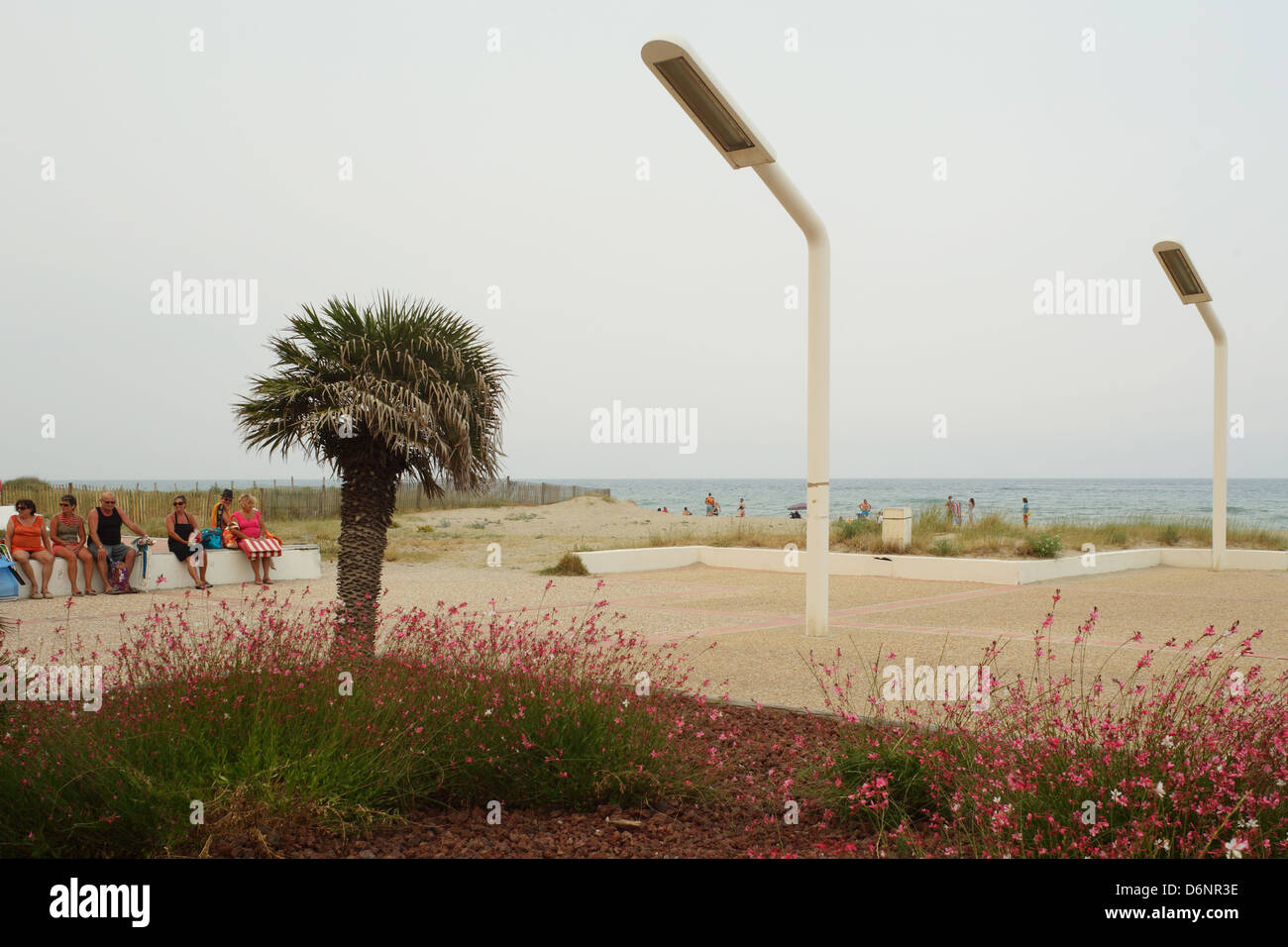 Le Barcares, France, street lamps on the beach promenade in the seaside resort of Le Barcares - Stock Image