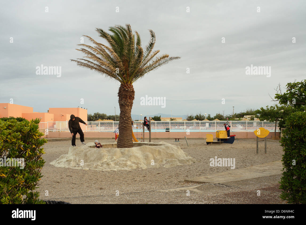 Le Barcares, France, children's playground in the seaside resort of Le Barcares - Stock Image
