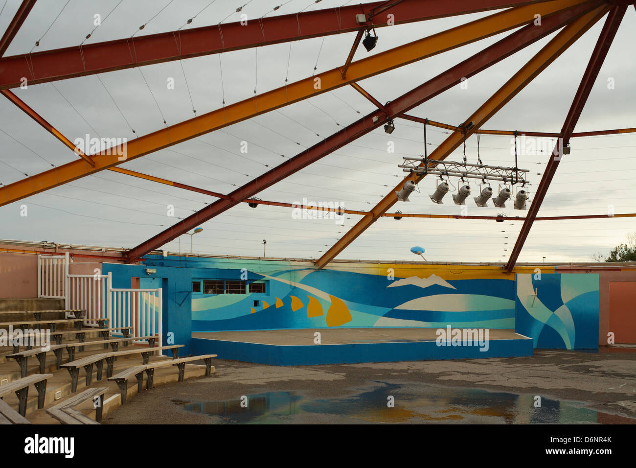Le Barcares, France, arena stage in the seaside resort of Le Barcares - Stock Image