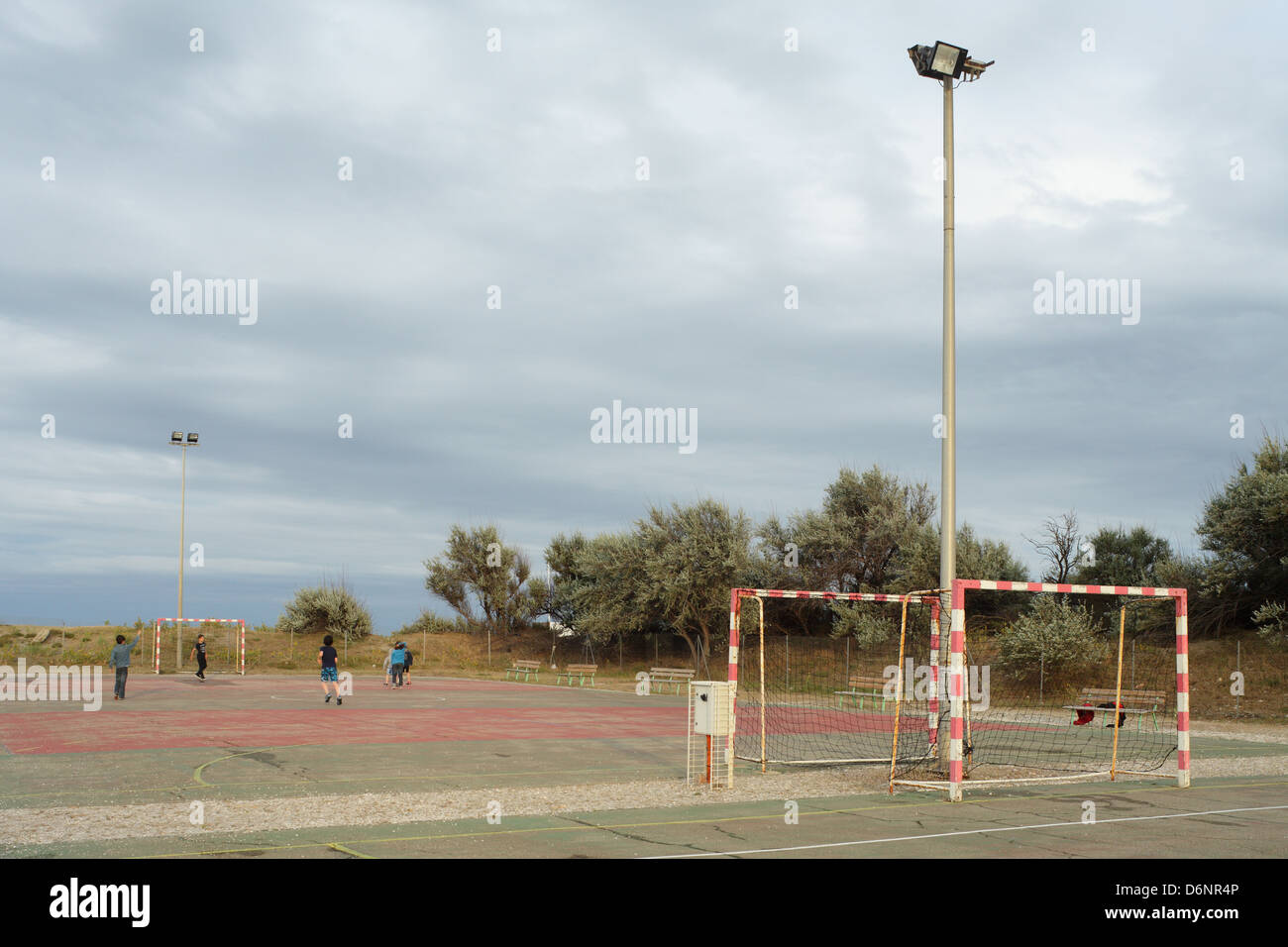Le Barcares, France, Football in the seaside resort of Le Barcares - Stock Image