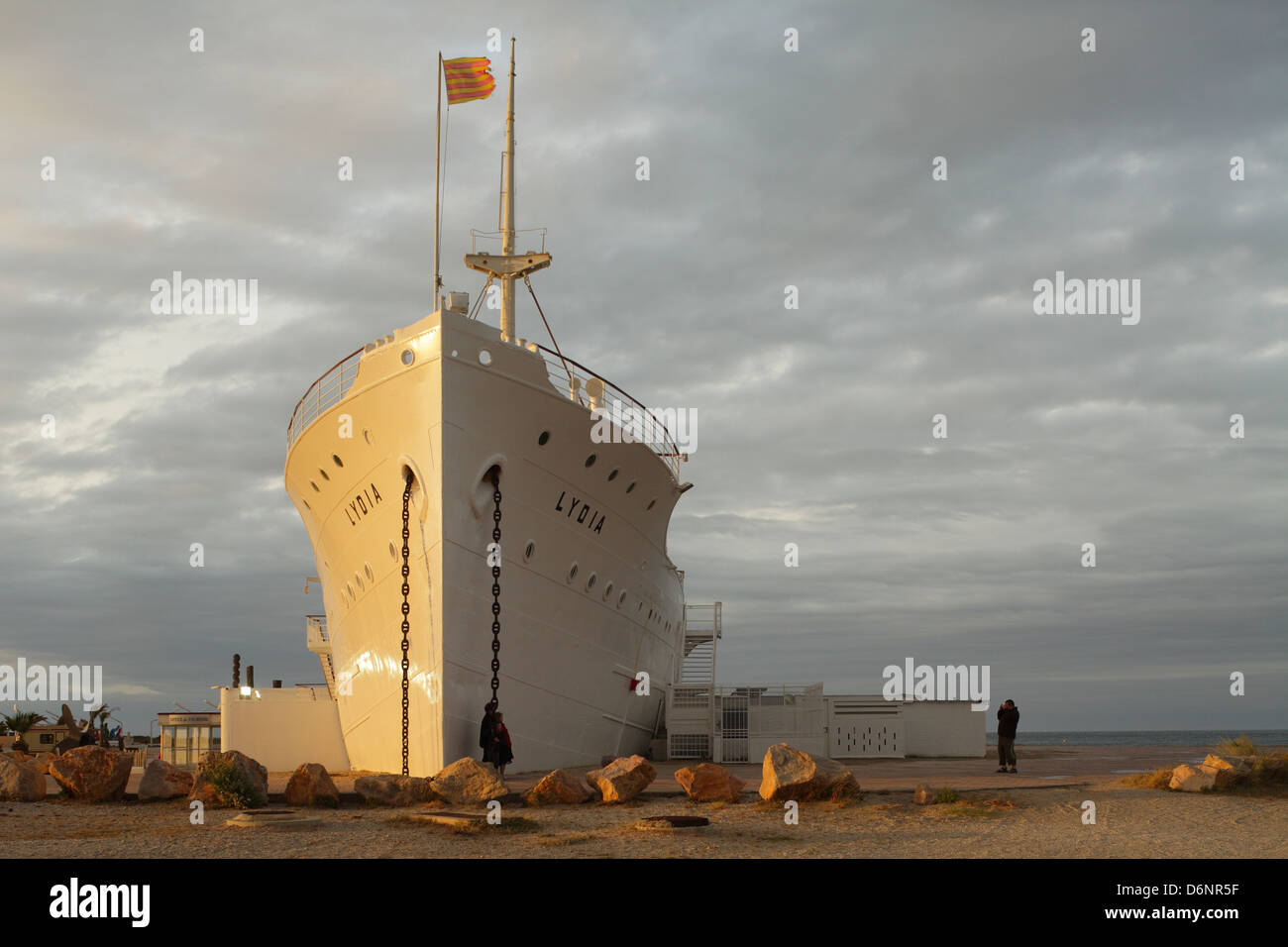 Le Barcares, France, the ship Lydia as a tourist attraction in the seaside resort of Le Barcares - Stock Image