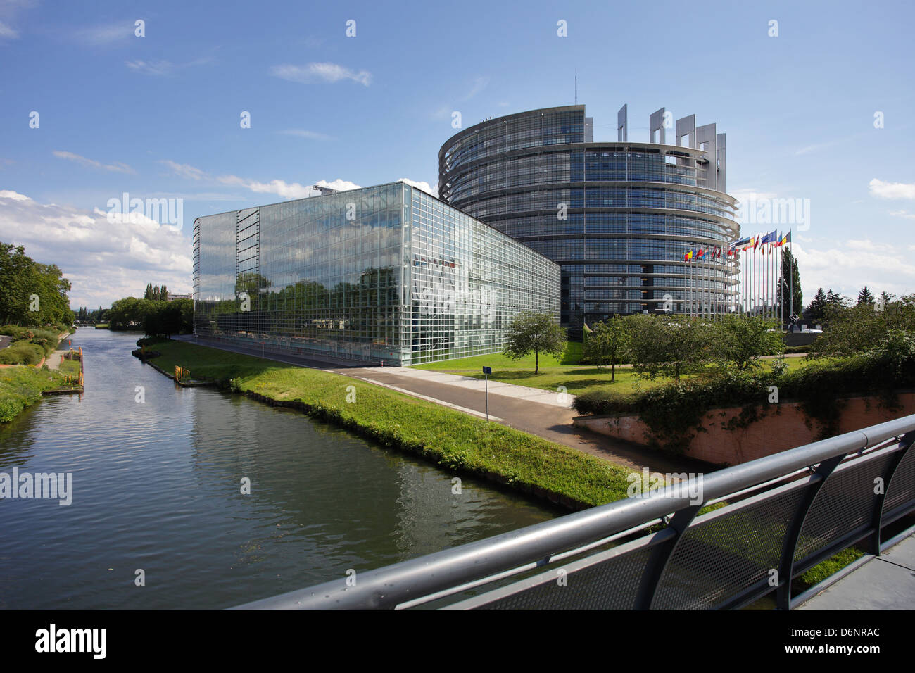 Strasbourg, France, View over the River Ill on the seat of the European Parliament - Stock Image