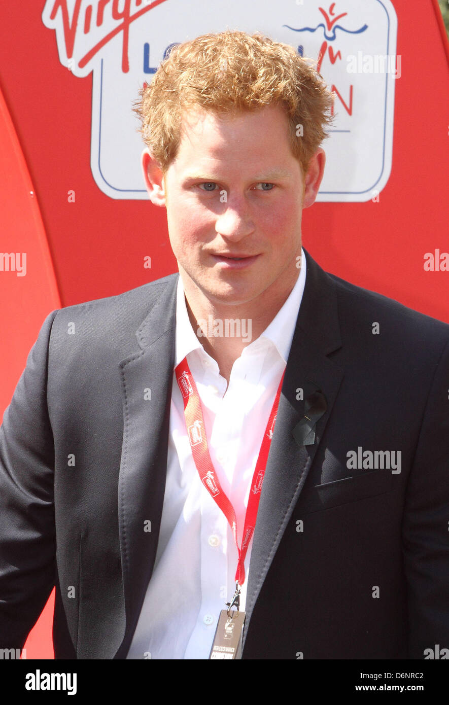London, UK. 21st April, 2013. Prince Harry at the Presentations at the finish of the London Marathon 2013.  Photo - Stock Image