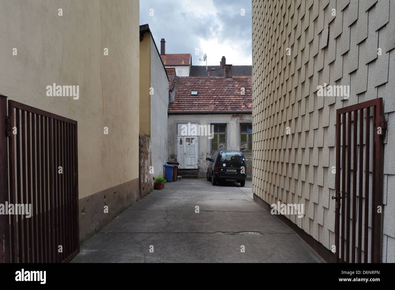 Pirmasens, Germany, backyard and parking car in Pirmasens - Stock Image