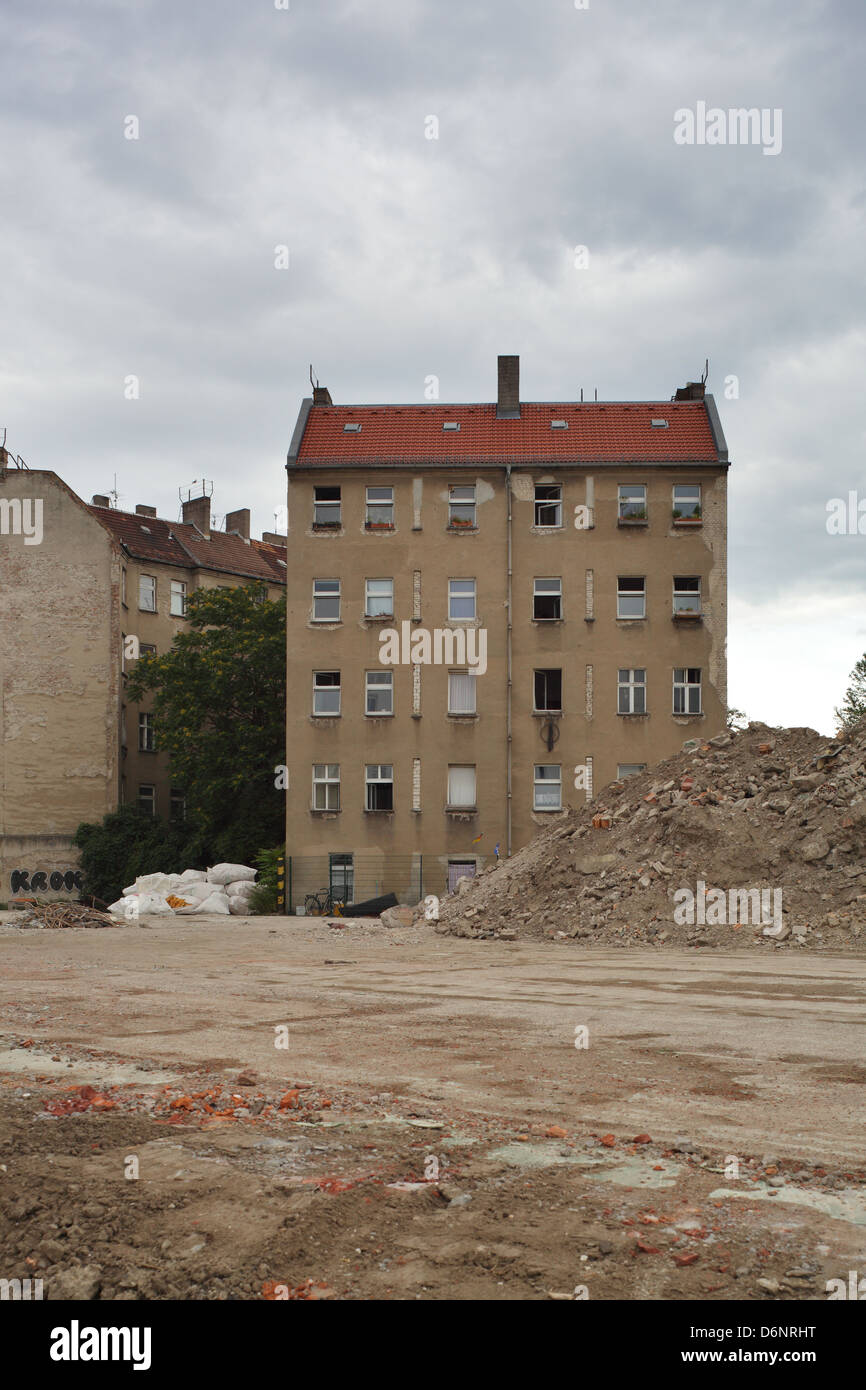 Berlin, Germany, and building rubble on the grounds of the demolished factory Freudenberg - Stock Image