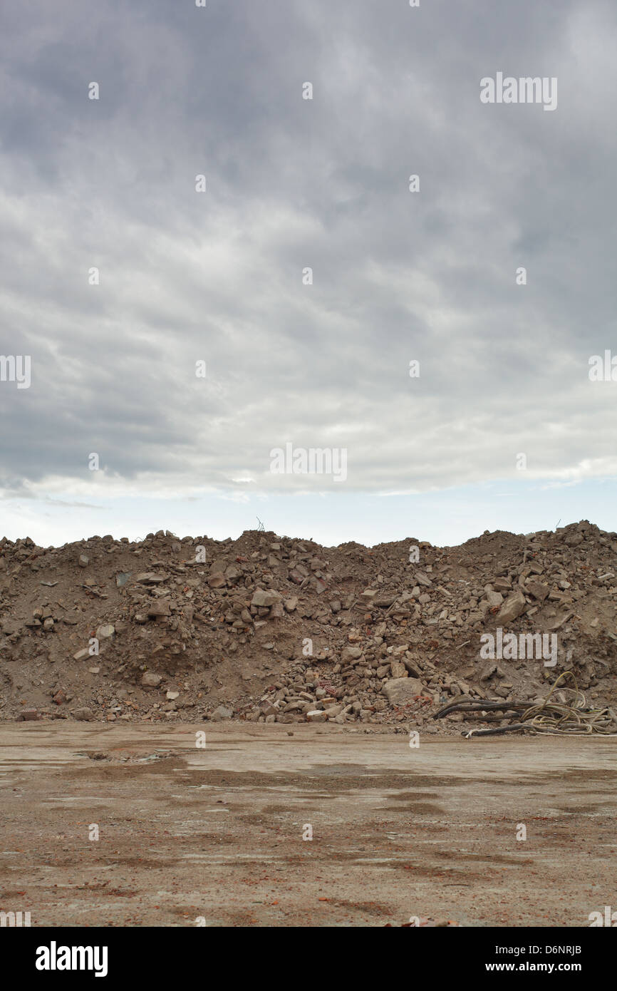 Berlin, Germany, piles of rubble on the grounds of the demolished factory Freudenberg - Stock Image