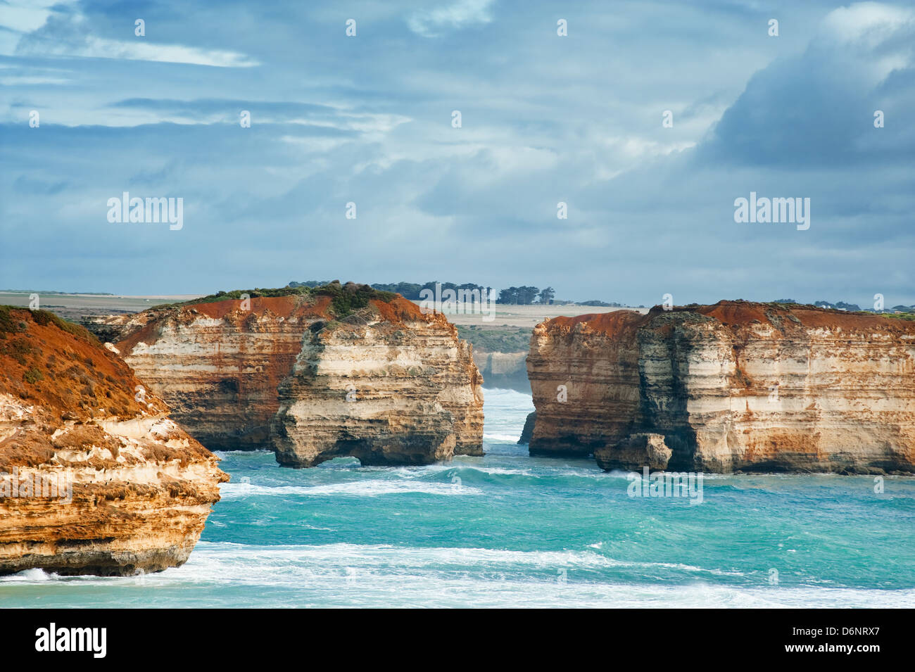 famous Rocks in the Bay of Islands Coastal Park,Great Ocean Road, Australia - Stock Image