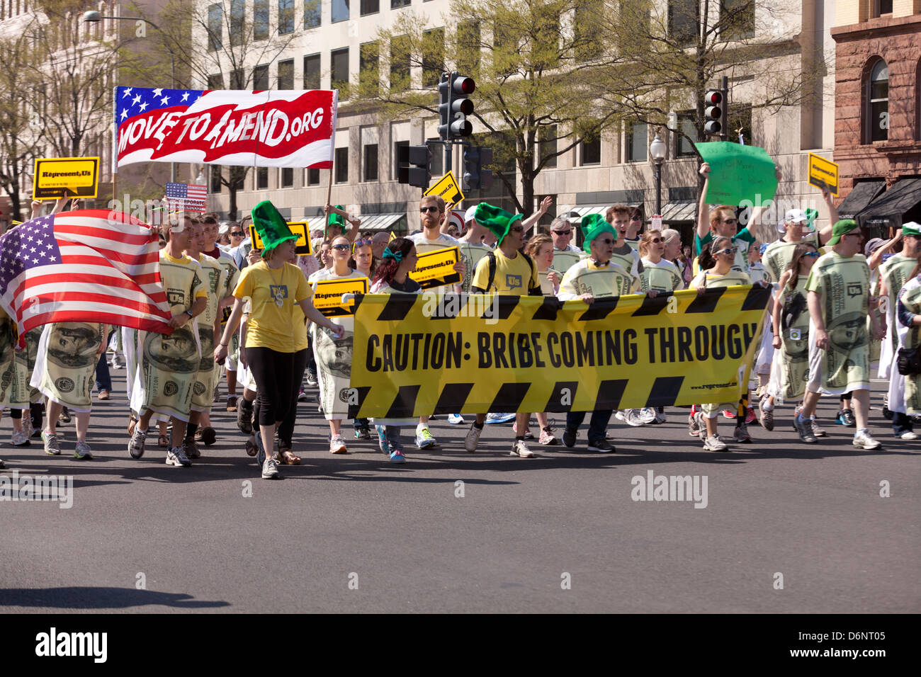 Represent Us supporters rally against political corruption in the US Government, Washington DC - Stock Image