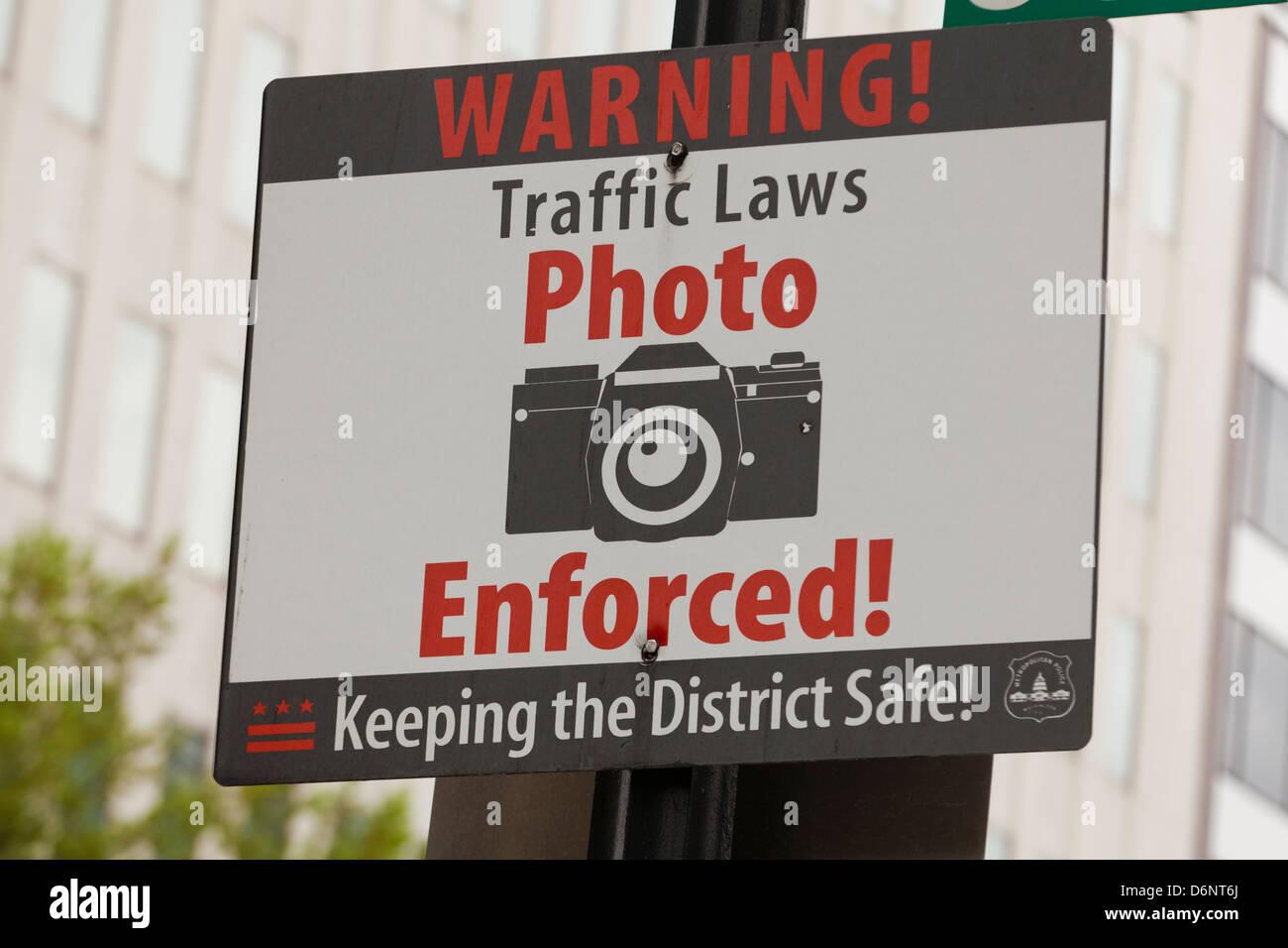 Traffic photo enforcement warning sign - Stock Image