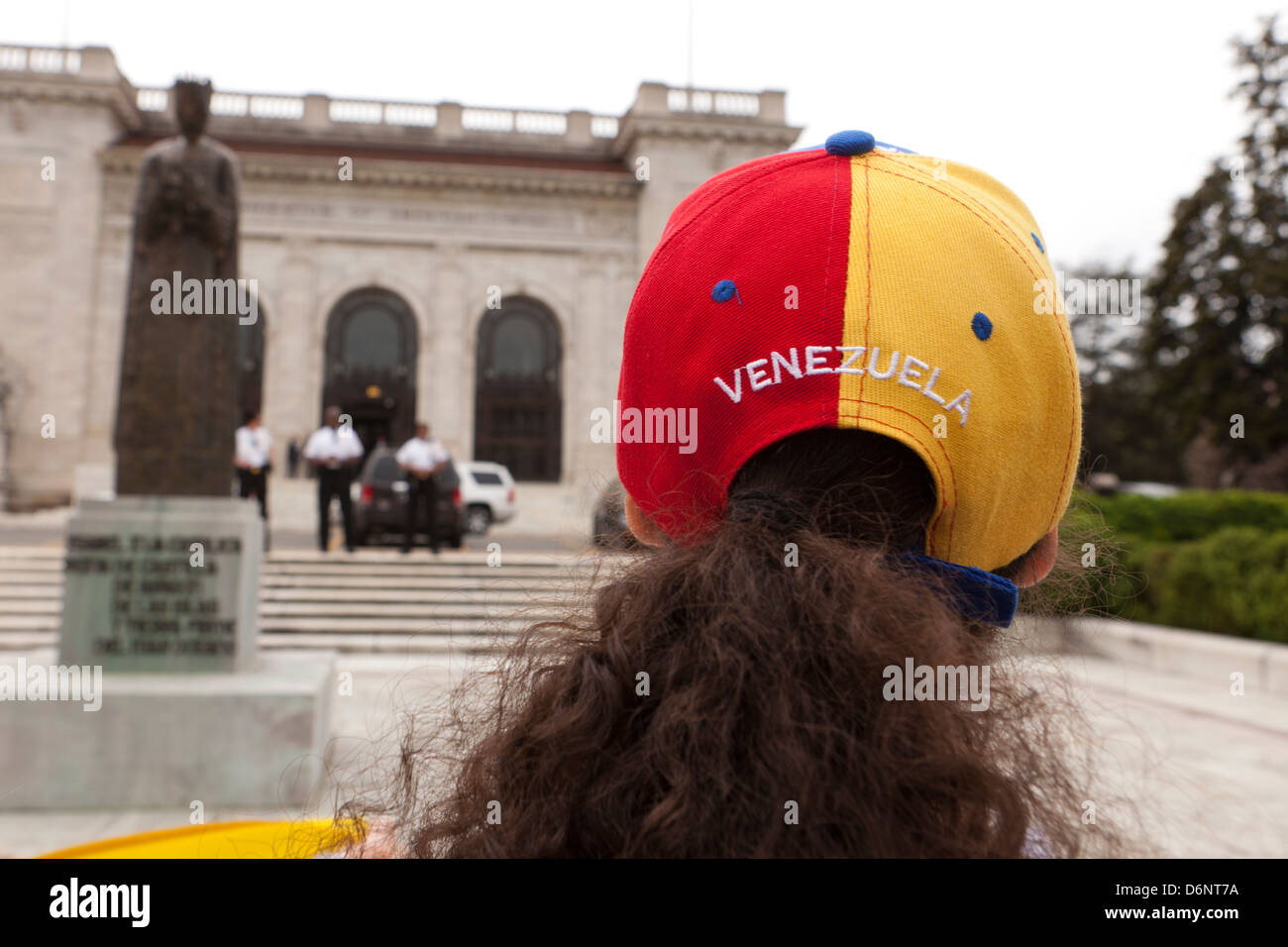 Woman wearing Venezuela cap - Stock Image
