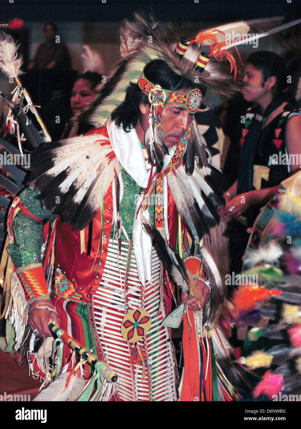 Native American Indian dance at pow wow Great Sioux reservation Pine Ridge South Dakota, Indian Chief, dance pow Stock Photo