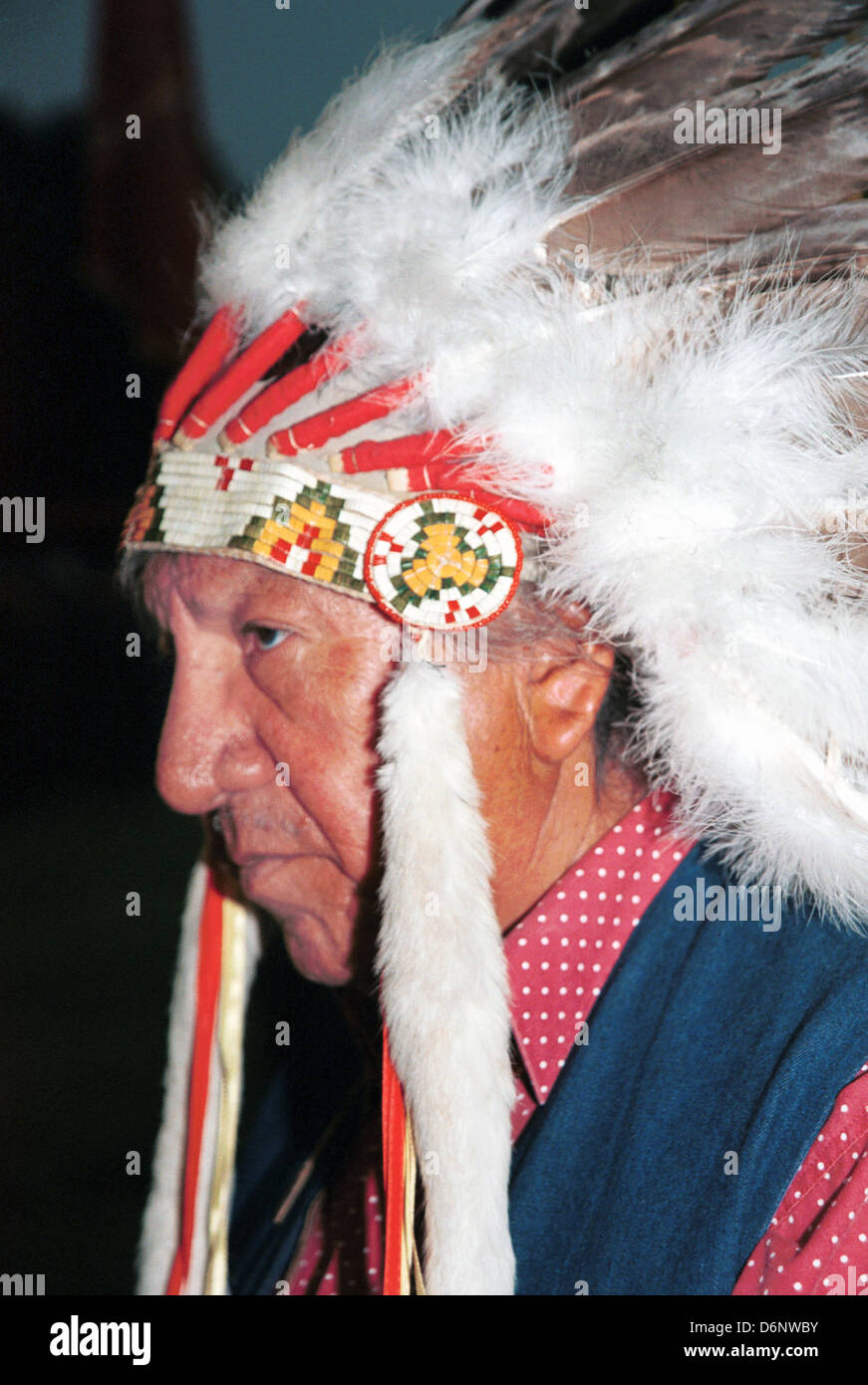Chief, Pine Ridge Indian Reservation South Dakota, Lakota, Native American Indian, Sioux, Wazi Ahanhan Oyanke, Stock Photo