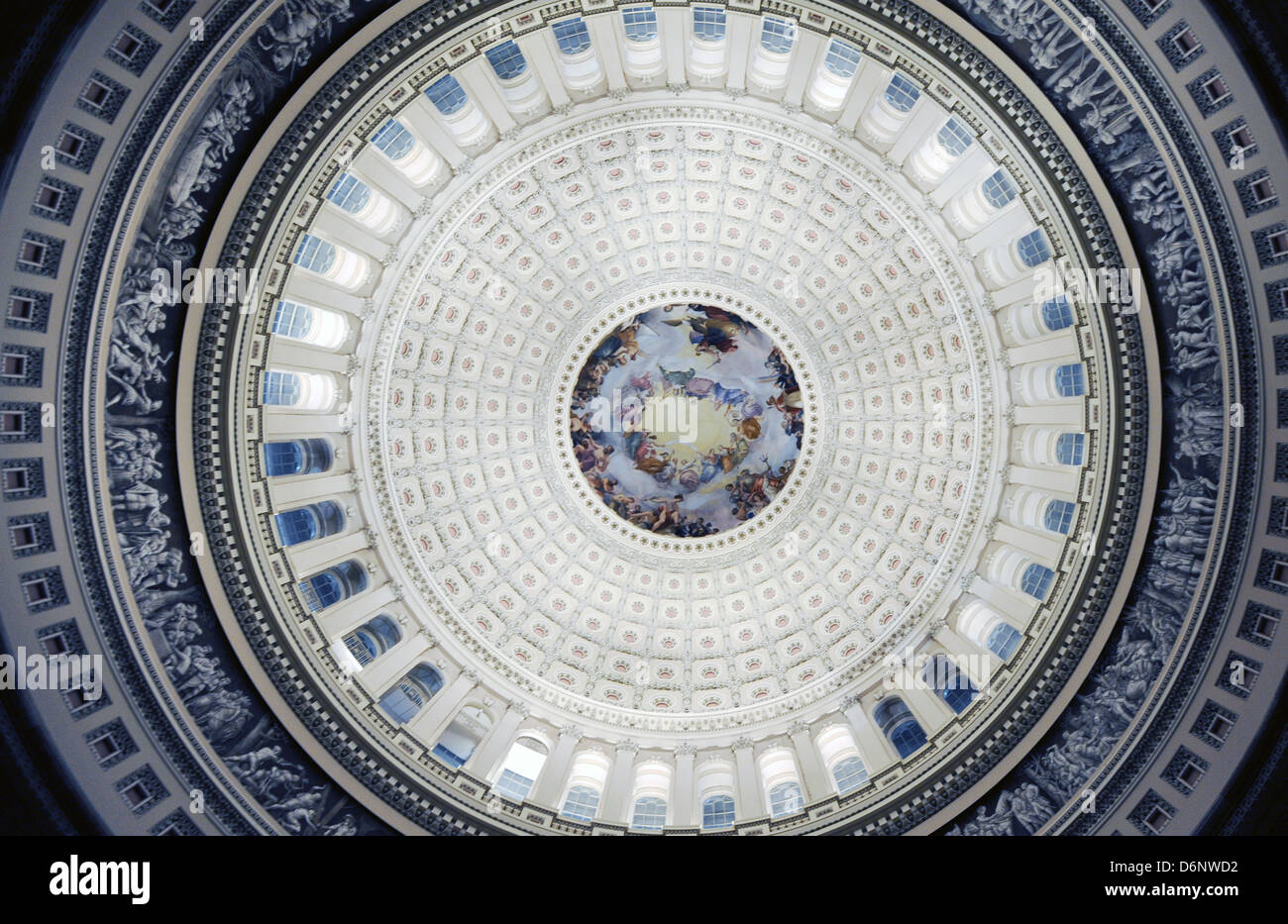 Fresco painted on interior of Capitol's dome titled 'The Apotheosis of Washington,' painted by Constantino - Stock Image