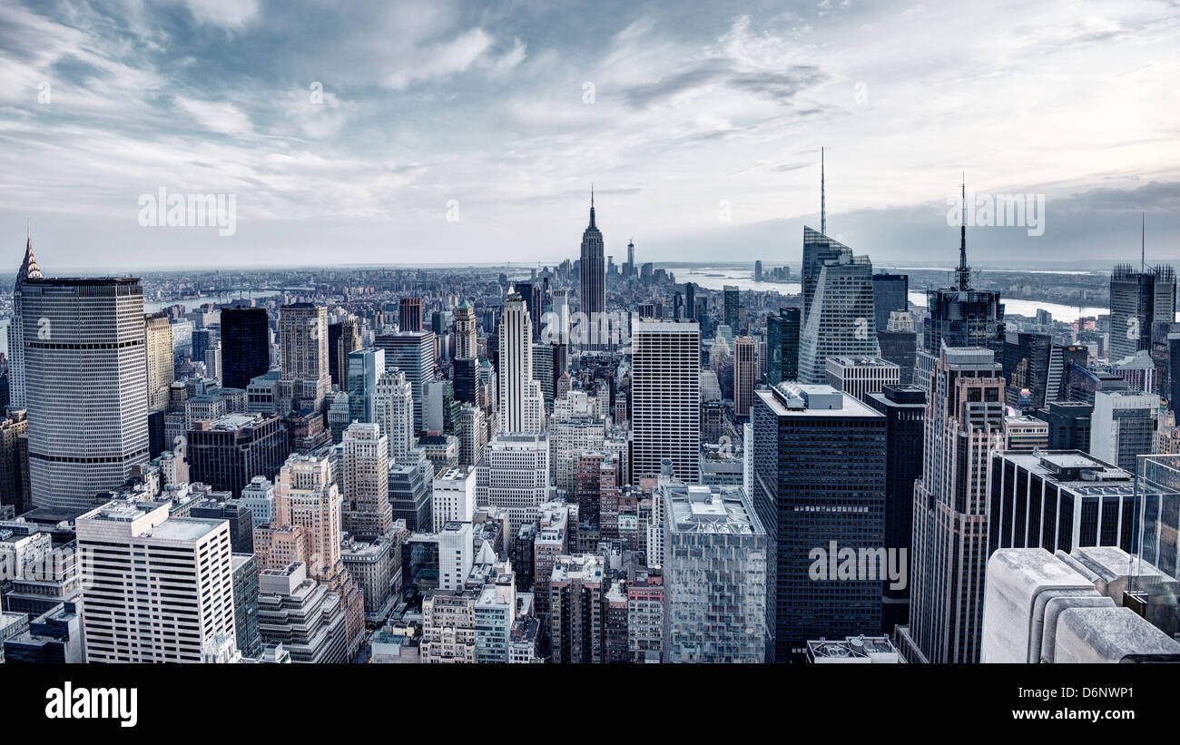 Panorama of New York City in Midtown Manhattan. Low color saturation. - Stock Image