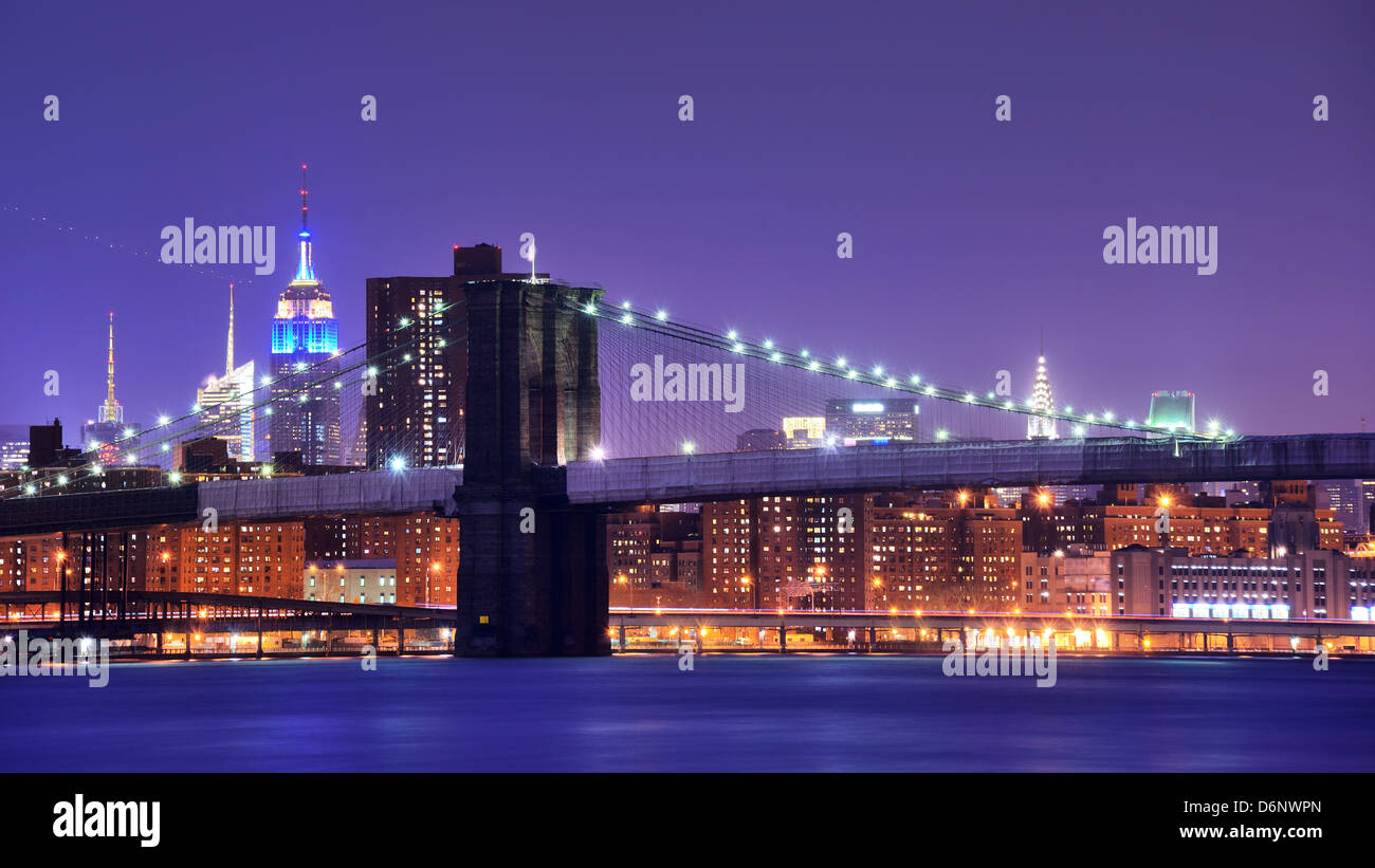 Brooklyn Bridge and famed skyscrapers in New York City - Stock Image