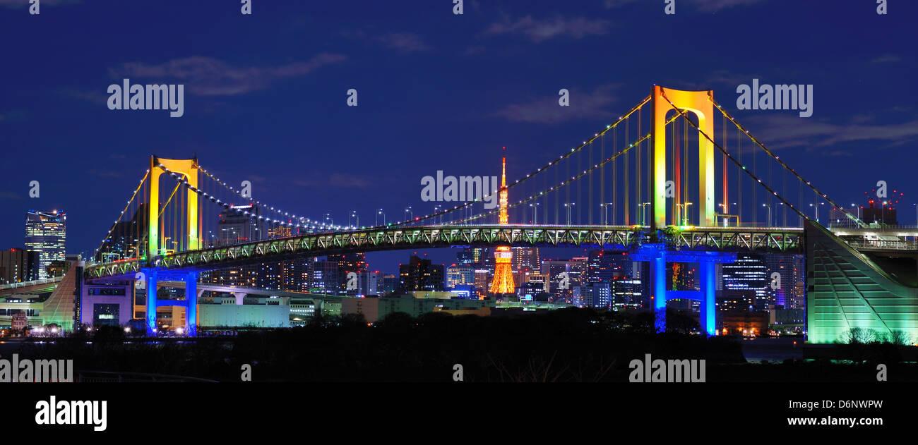Rainbow Bridge in Tokyo, Japan - Stock Image