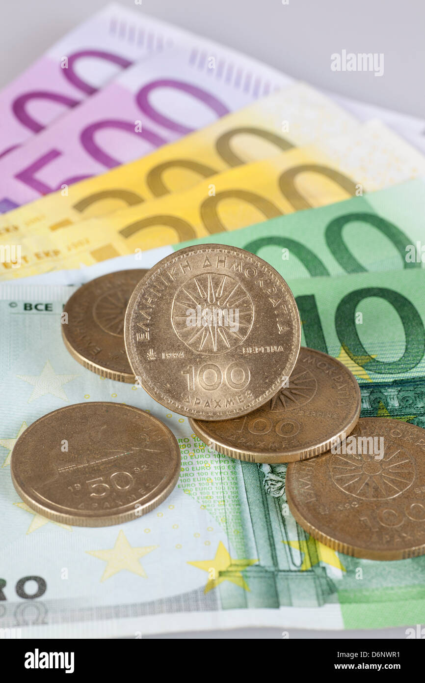Berlin, Germany, Euro notes and former Greek drachma coins Stock Photo