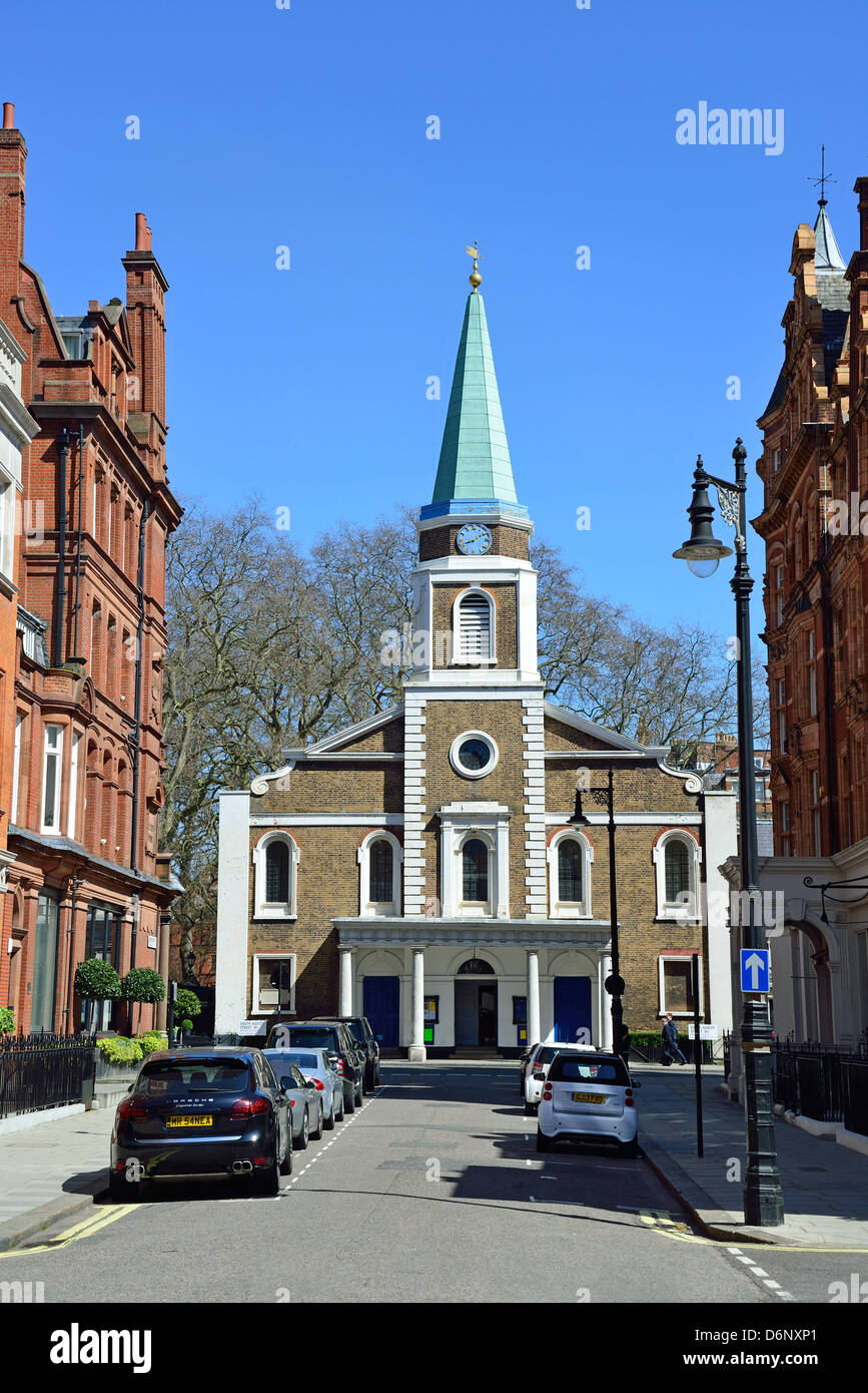 Grosvenor Chapel from Aldford Street, Mayfair, City of Westminster, London, England, United Kingdom - Stock Image