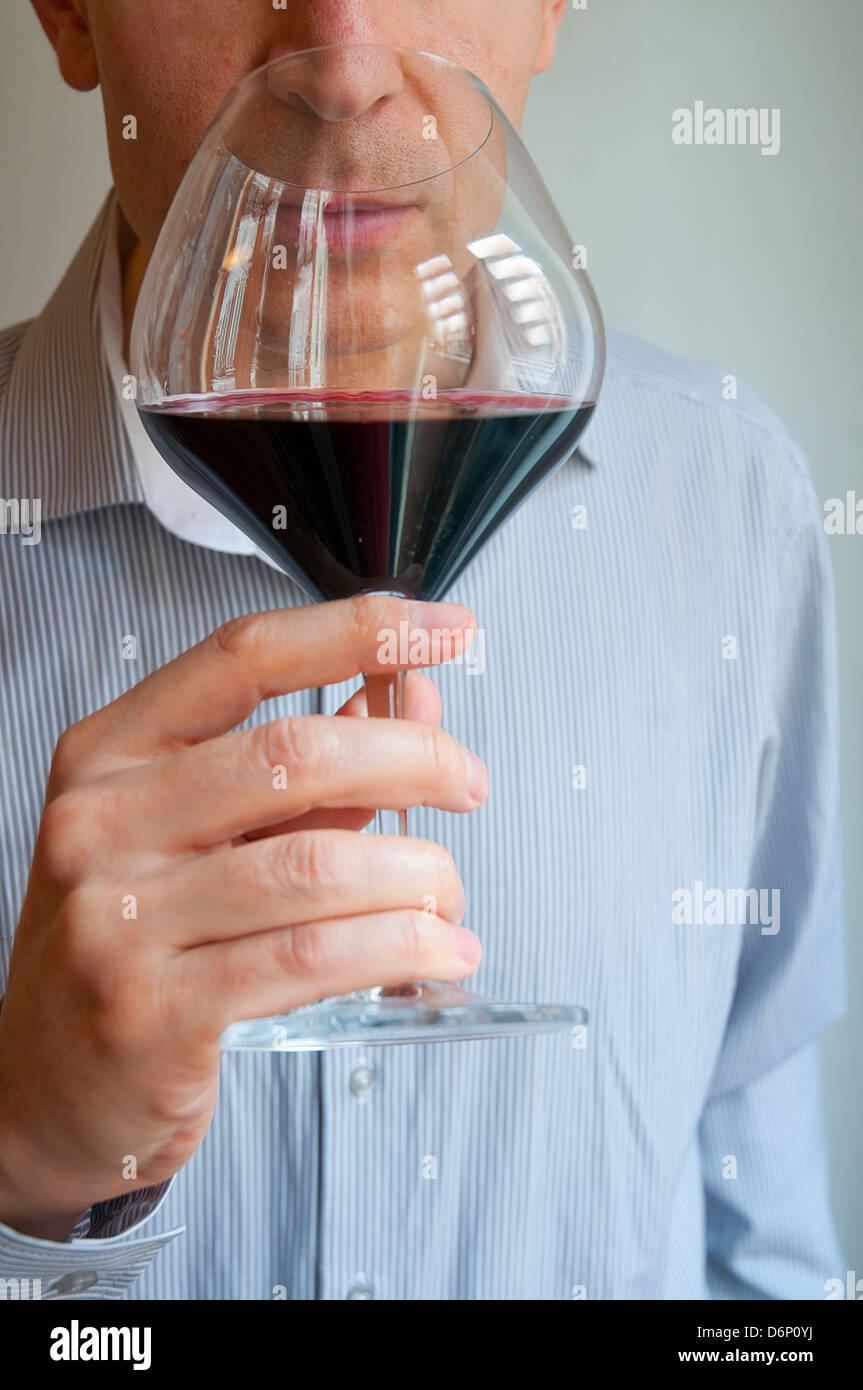 Wine taster. Close view. - Stock Image
