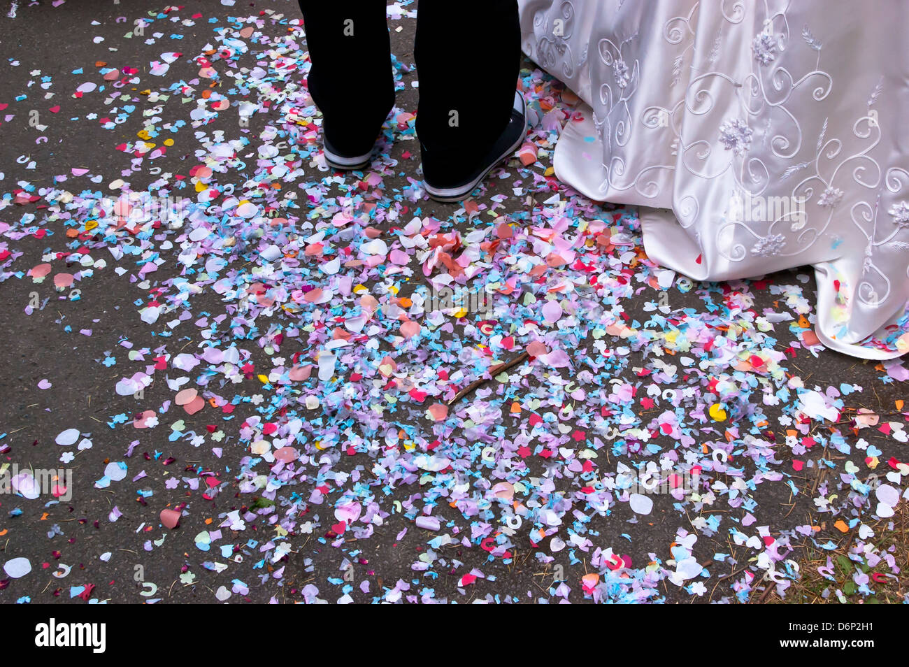 Confetti on the ground after a weeding - Stock Image