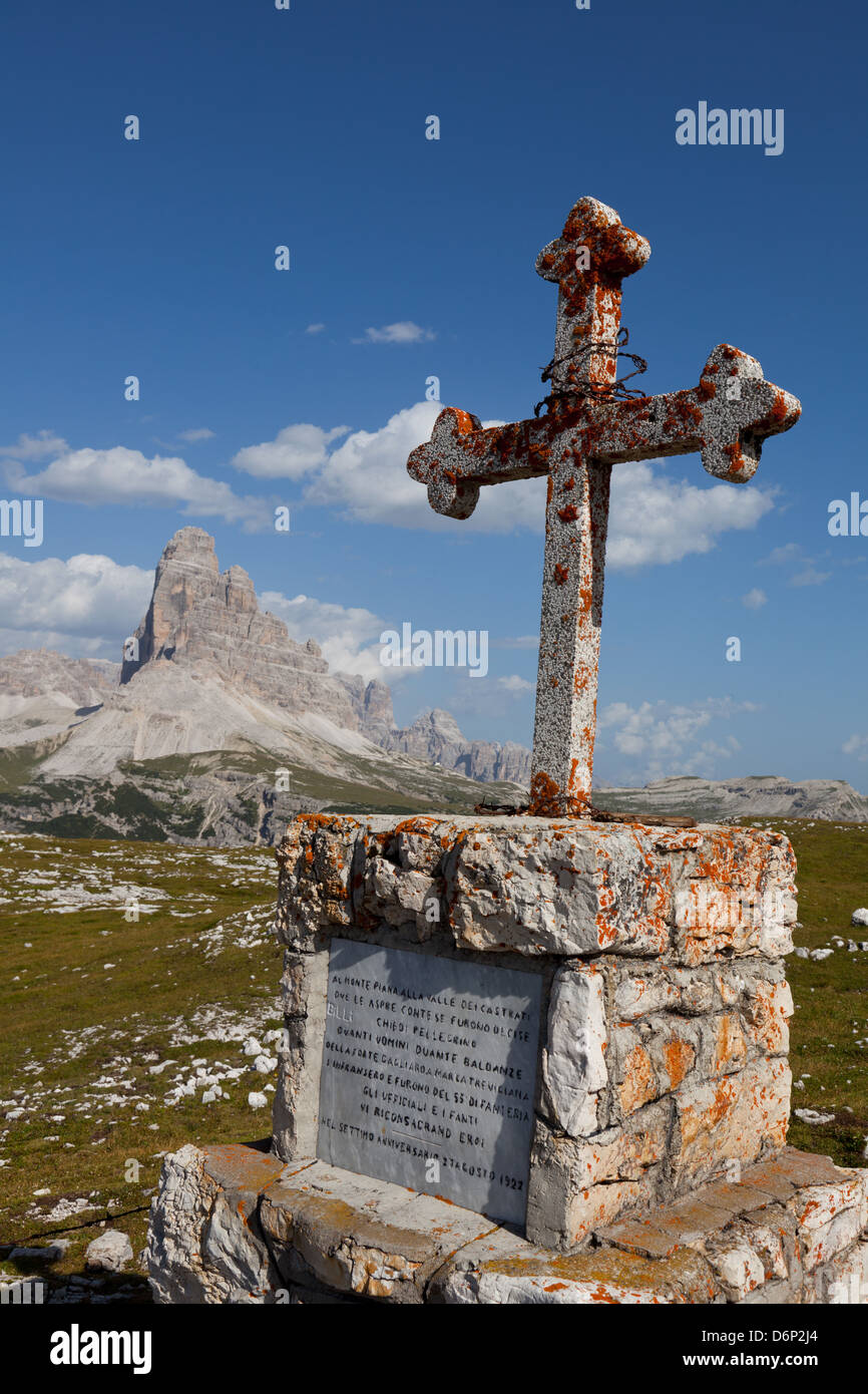 Monte Piana open-air First World War Museum, Tre Cime di Lavaredo, Belluno, Bozen, Dolomites, Italy, Europe - Stock Image