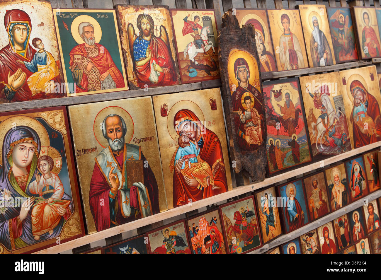 Greek Orthodox icons offered for sale outside the Alexander Nevsky Cathedral, Sofia, Bulgaria, Europe - Stock Image