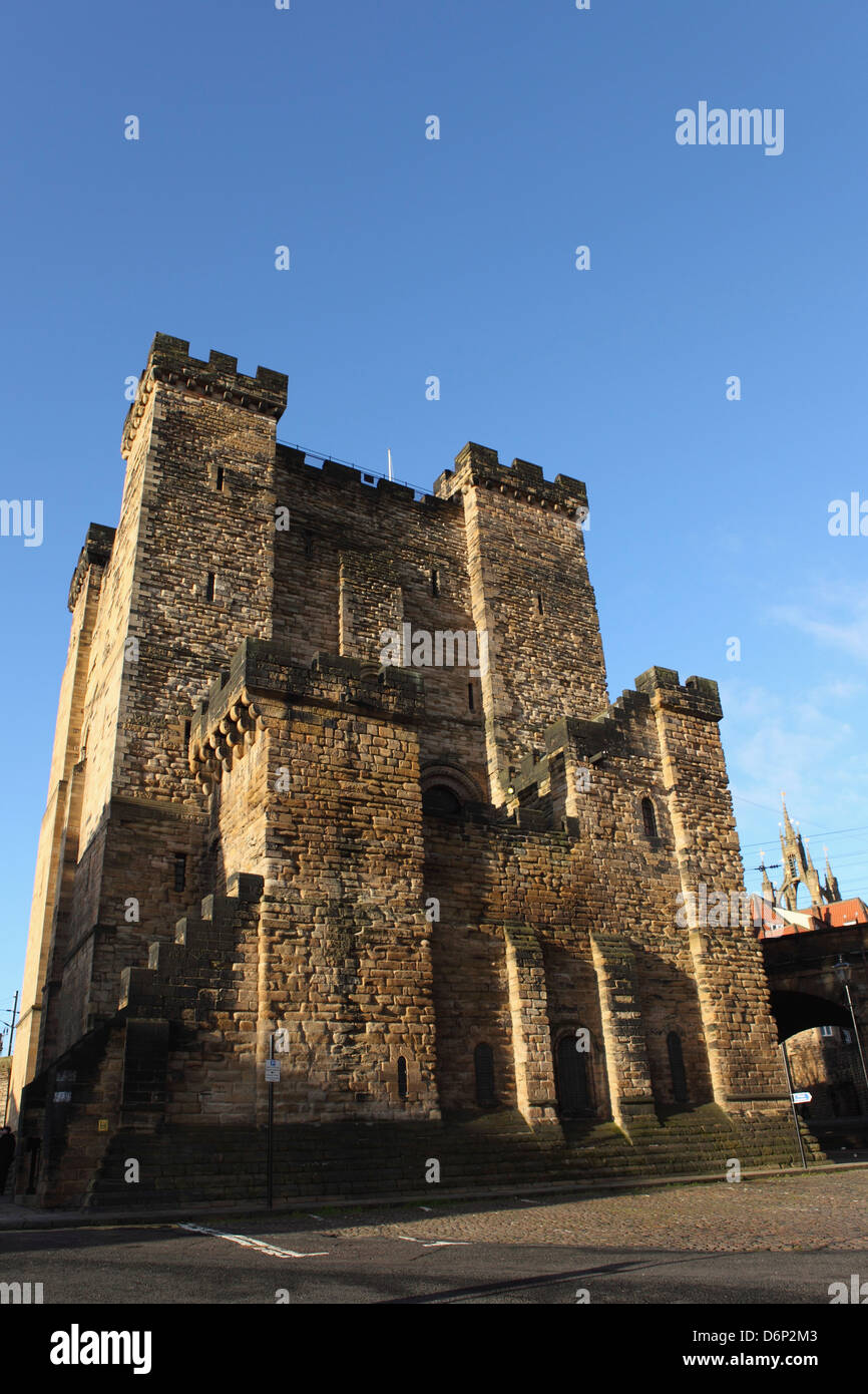 Norman era castle keep, built by King Henry II from 1168 to 1178, Newcastle-upon-Tyne, Tyne and Wear, England, UK - Stock Image