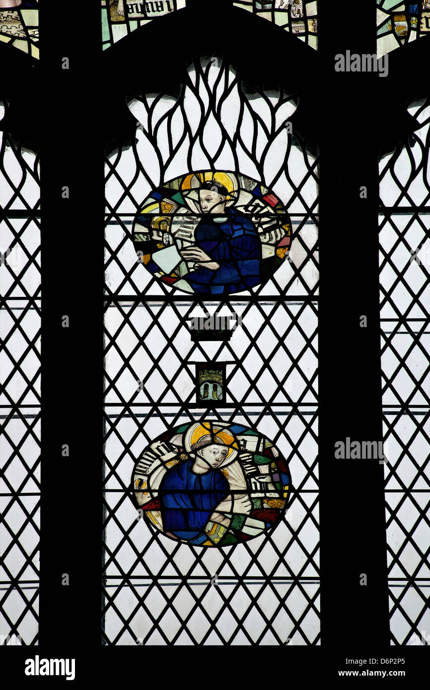 Monks in stained glass, Galilee Chapel, Durham Cathedral, County Durham, England, United Kingdom, Europe - Stock Image