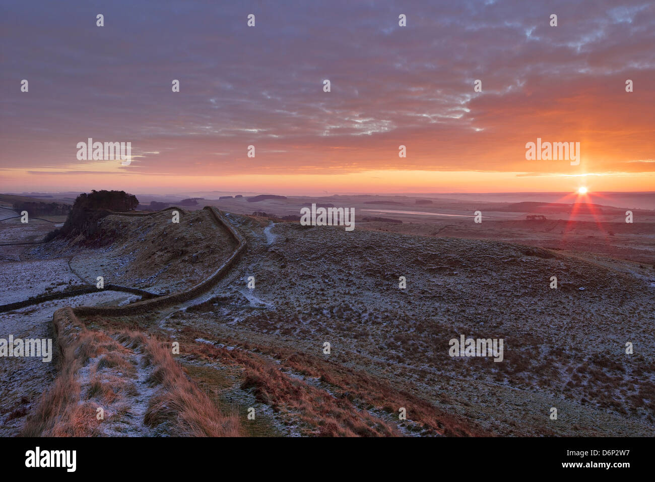 Sunrise and Hadrian's Wall National Trail, Hadrian's Wall, UNESCO World Heritage Site, Northumberland, England, Stock Photo
