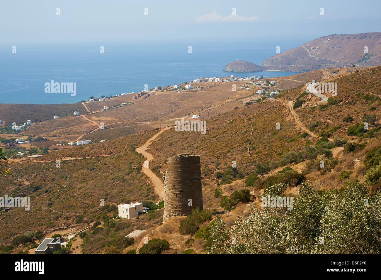 Hellenic tower, Agios Petros, Andros Island, Cyclades, Greek Islands, Greece, Europe - Stock Image
