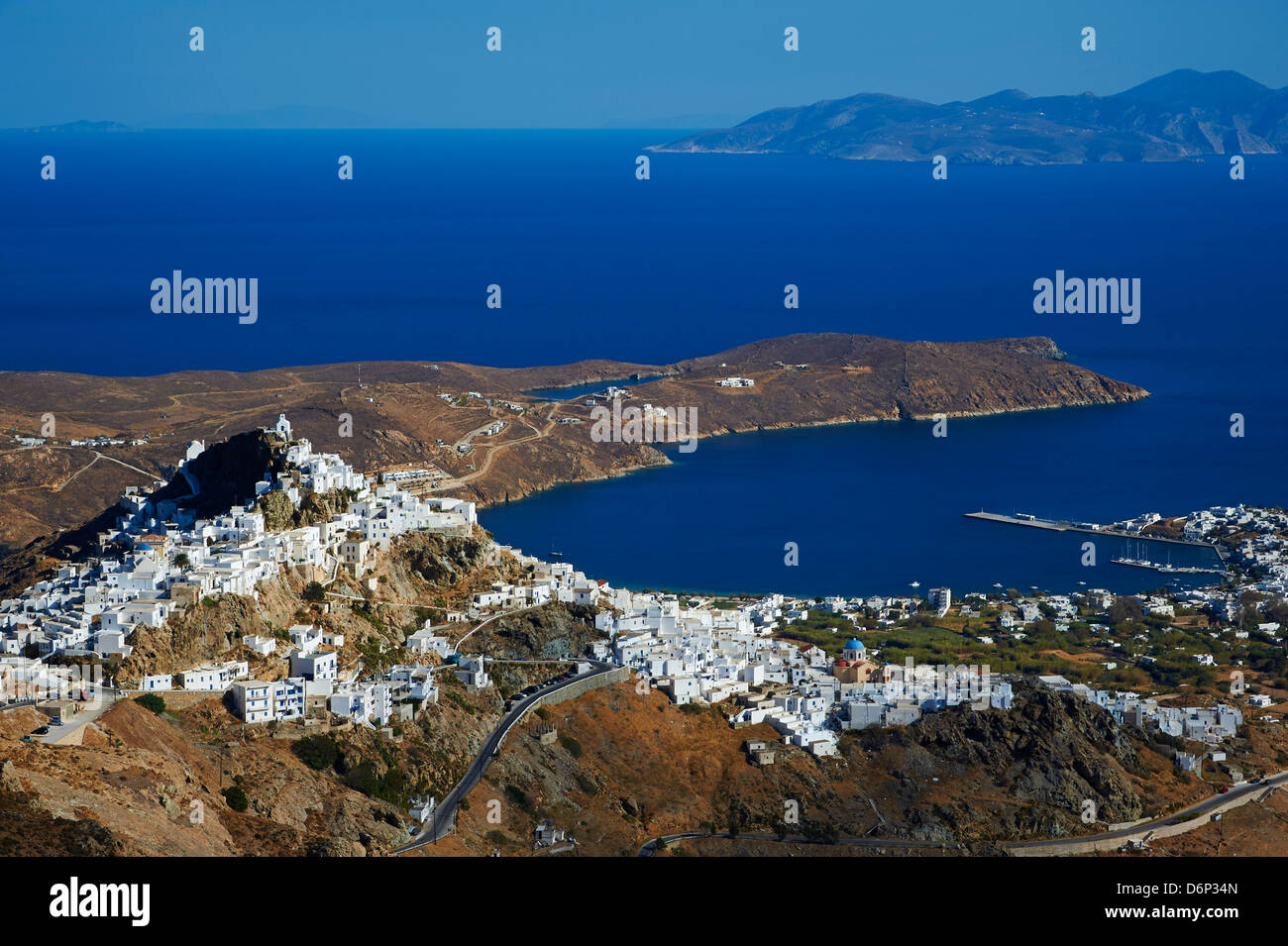 Hora, the main town on Serifos on the rocky spur, Serifos Island, Cyclades, Greek Islands, Greece, Europe - Stock Image