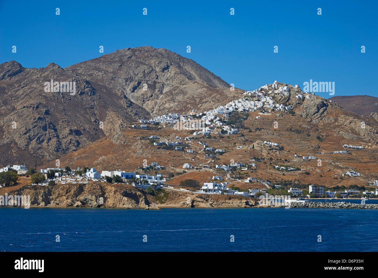 Hora, the main town on a rocky spur, Serifos, Cyclades, Greek Islands, Greece, Europe - Stock Image