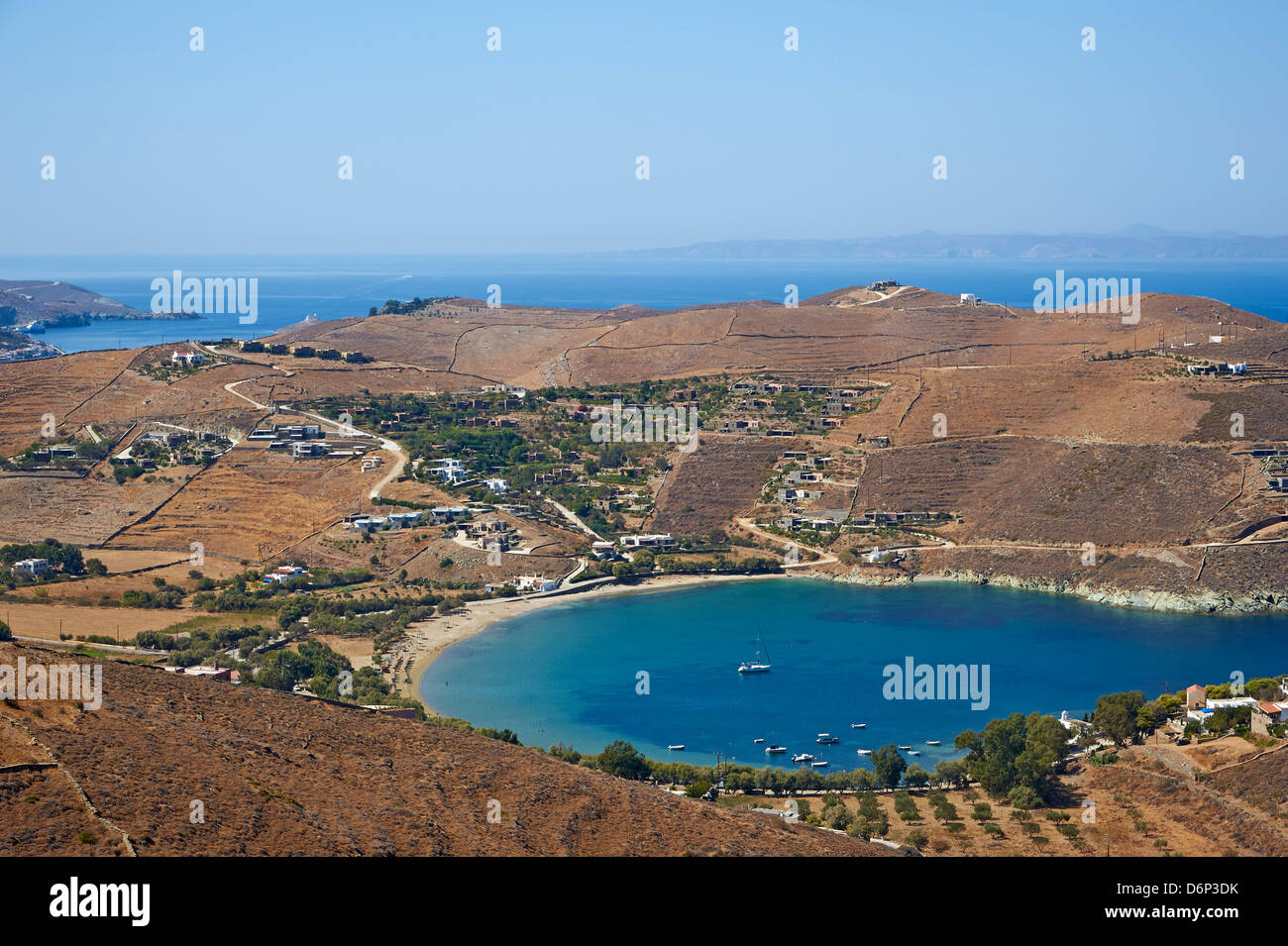 The beach of Otzias, Agios Sostis, Kea Island, Cyclades, Greek Islands, Greece, Europe - Stock Image