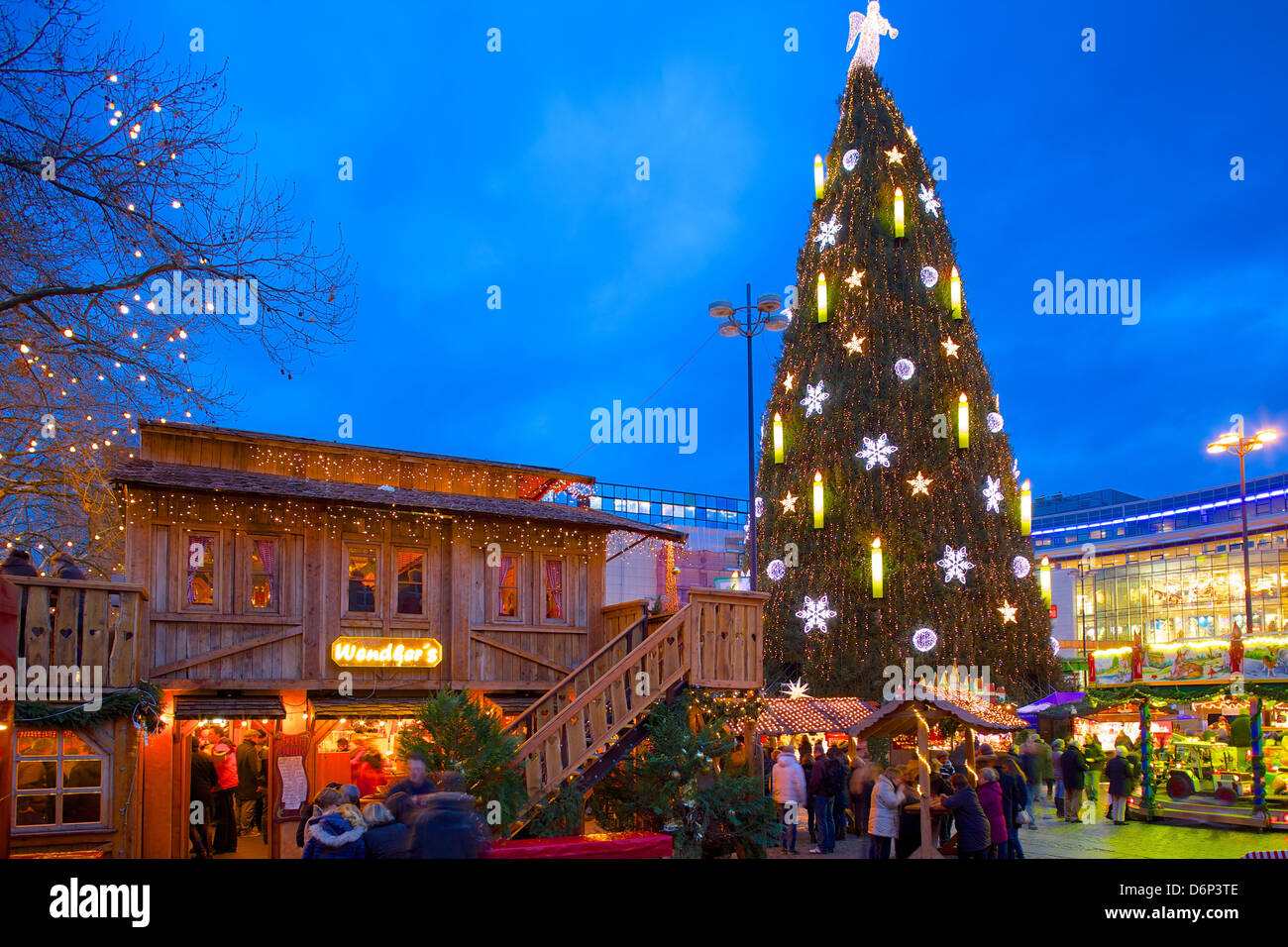 christmas market and the biggest christmas tree in the world hansaplatz dortmund north rhine westphalia germany europe - Biggest Christmas Tree In The World
