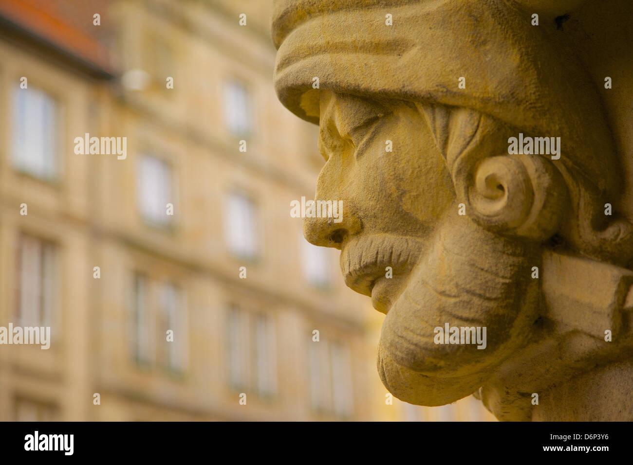 Stone carving on the Town Hall, Prinzipalmarkt, Munster, North Rhine-Westphalia, Germany, Europe - Stock Image
