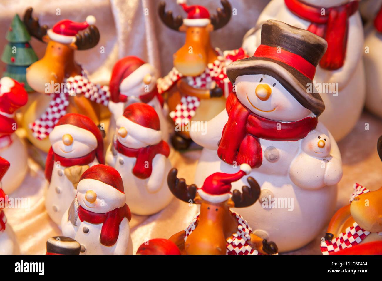 Christmas ornaments in Christmas Market, Munster, North Rhine-Westphalia, Germany, Europe - Stock Image