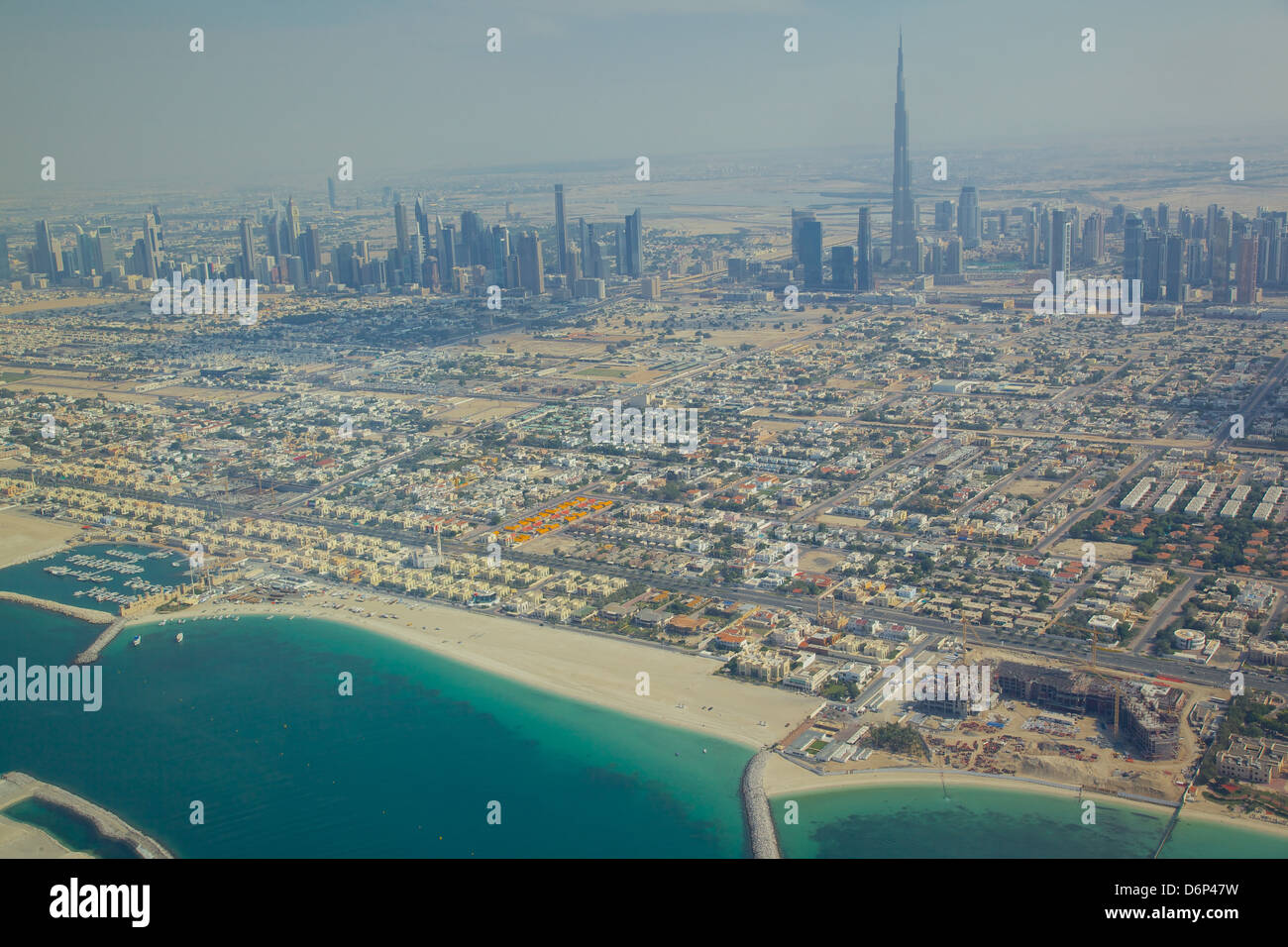 View of city skyline and Dubai Beach from seaplane, Dubai, United Arab Emirates, Middle East - Stock Image