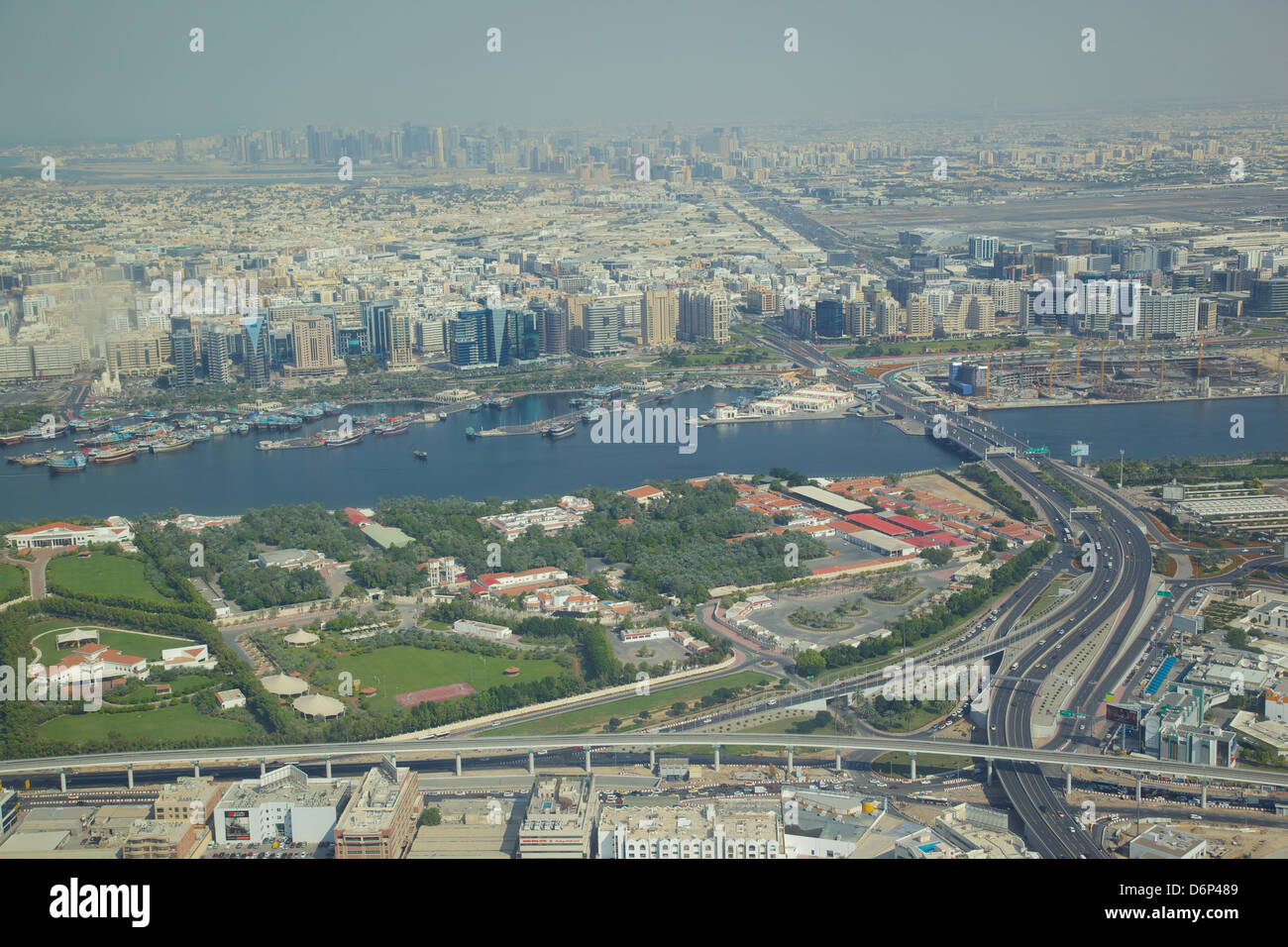 View of The Creek from seaplane. Dubai, United Arab Emirates, Middle East - Stock Image